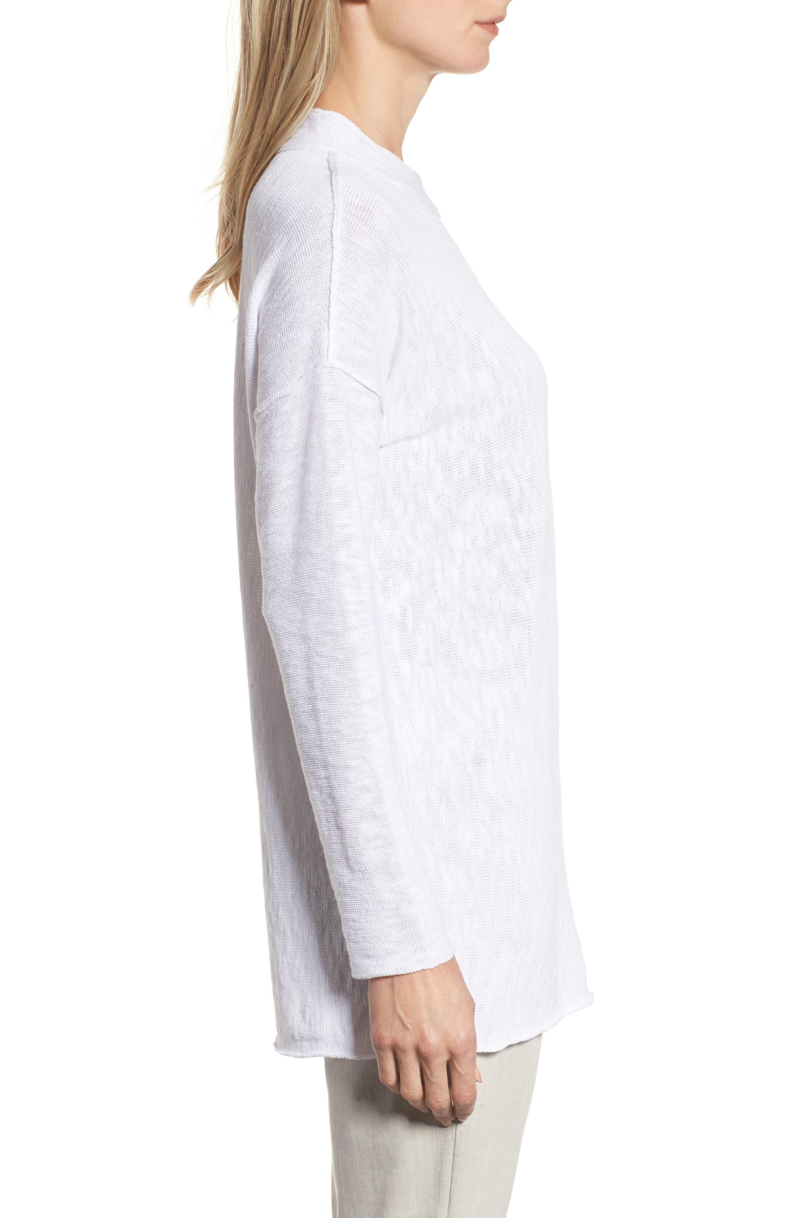 Organic Linen & Cotton Sweater,                             Alternate thumbnail 3, color,                             100