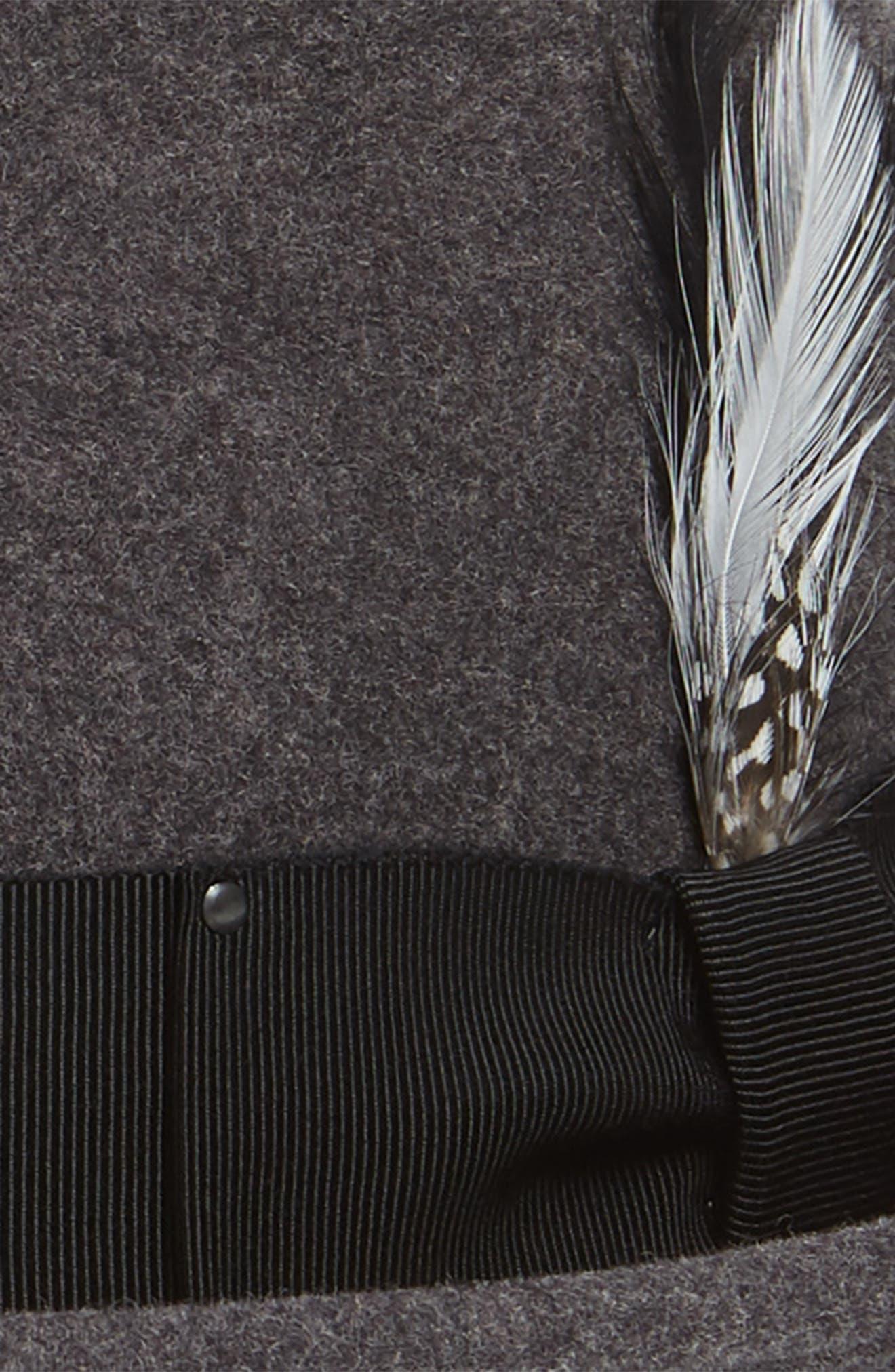 Tino Snap Brim Wool Fedora,                             Alternate thumbnail 2, color,                             BLACK MIX