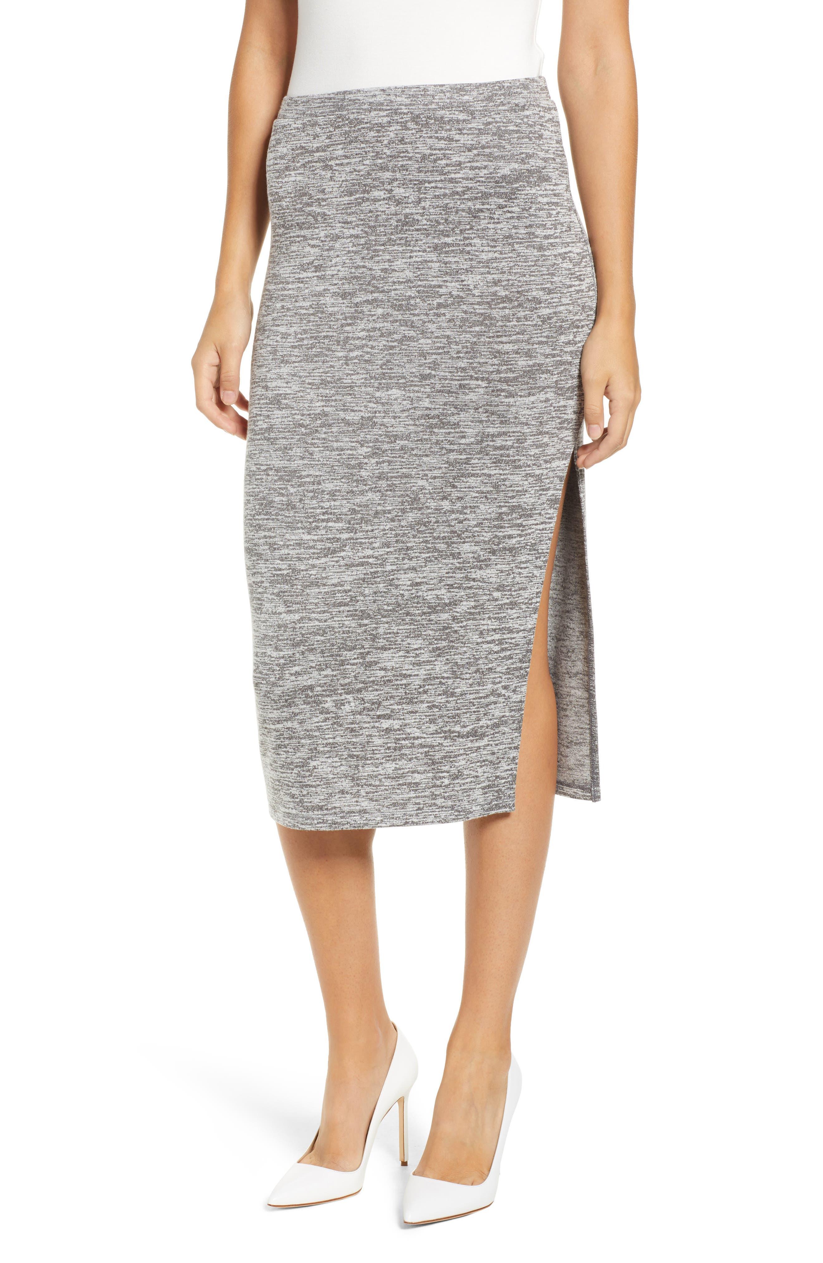 Leith High Slit Marled Midi Skirt, Grey