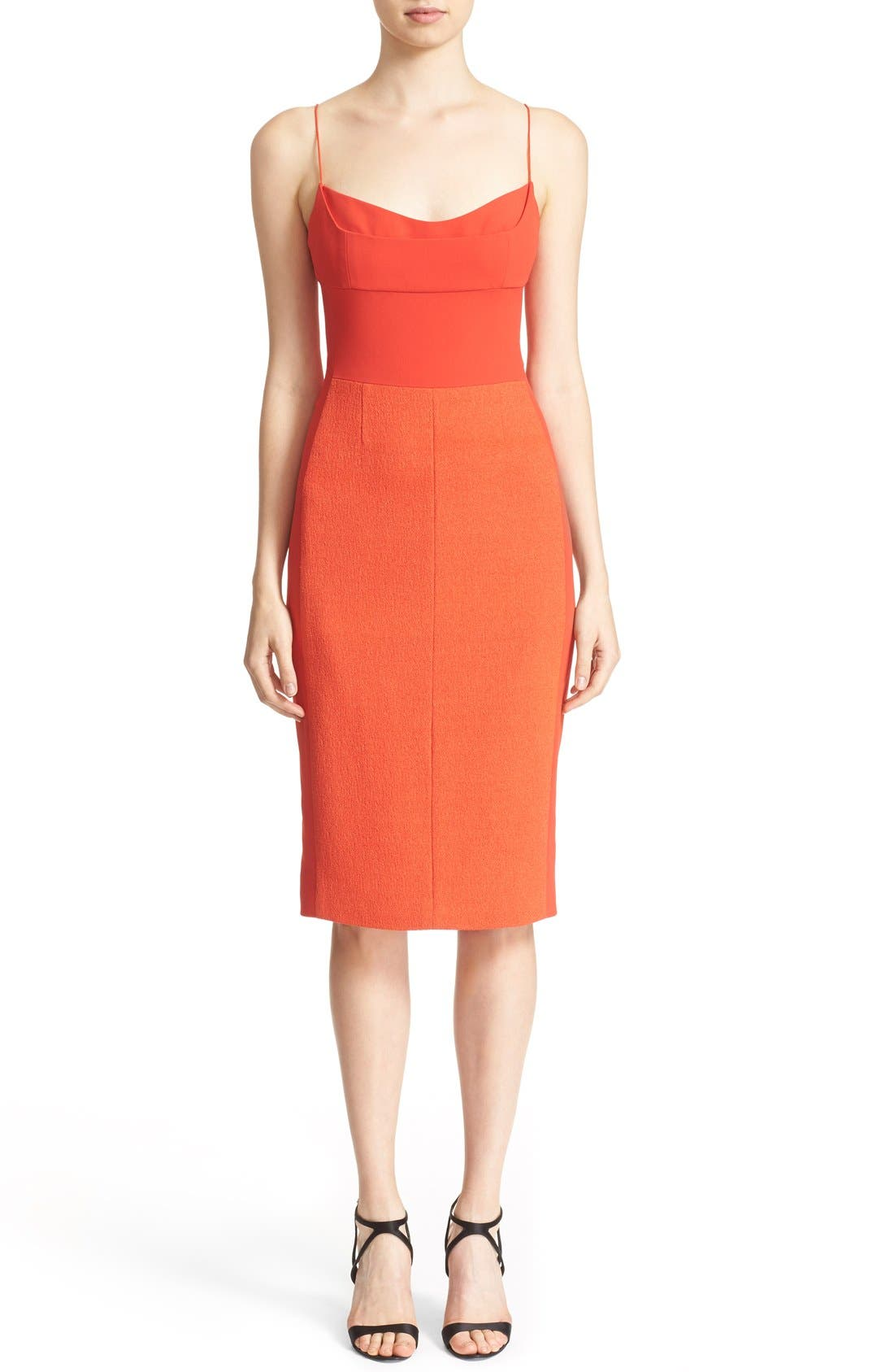 Texture Wool & Crêpe Bustier Dress, Main, color, 600