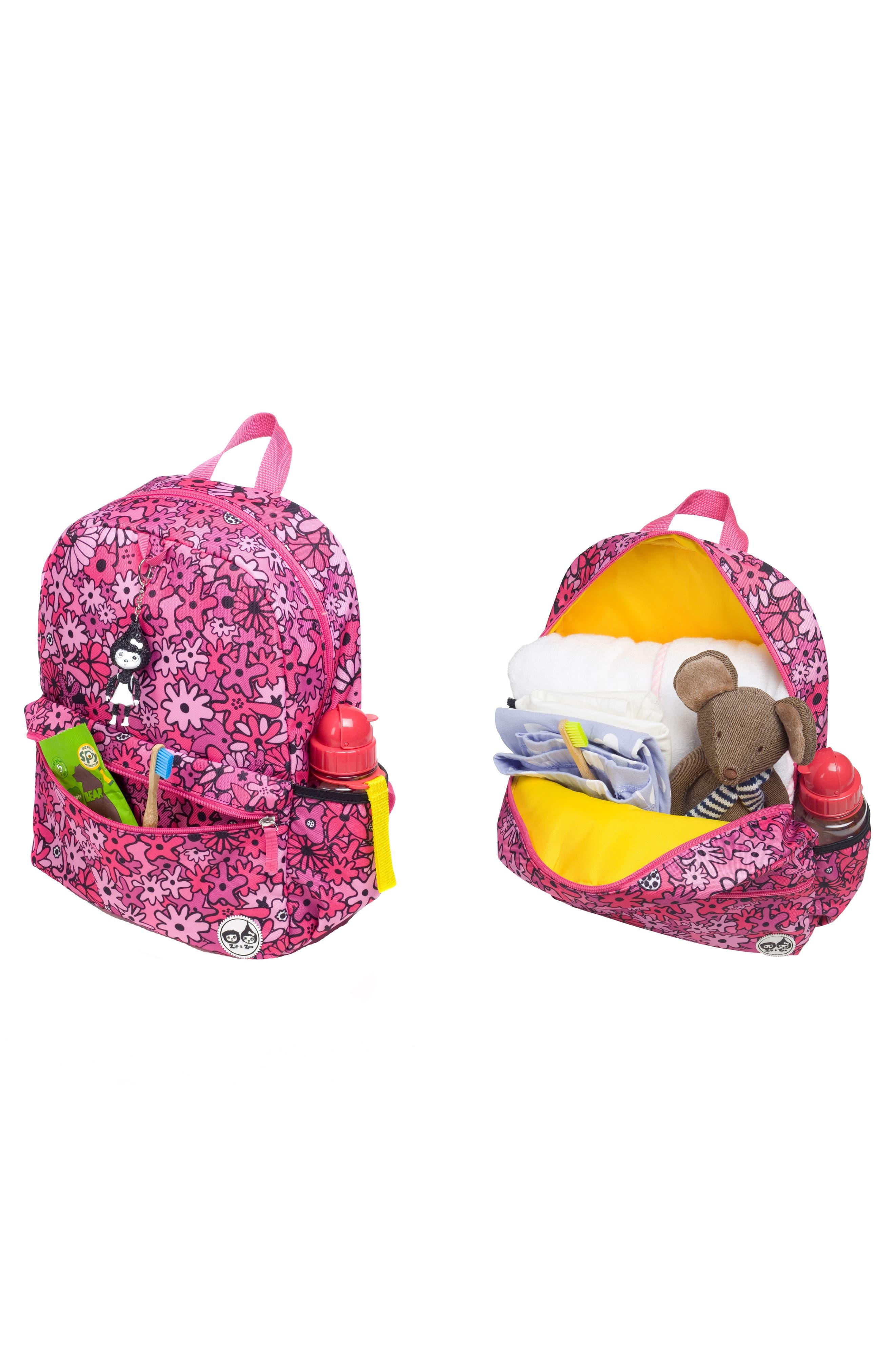 Zip & Zoe Floral Junior Backpack,                             Alternate thumbnail 7, color,                             FLORAL PINK