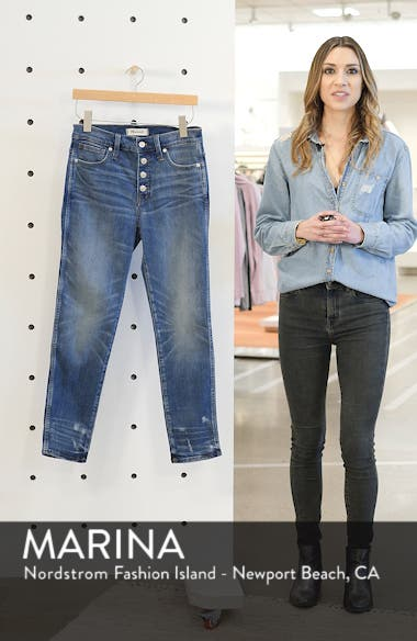Distressed Button Front High Waist Slim Straight Jeans, sales video thumbnail