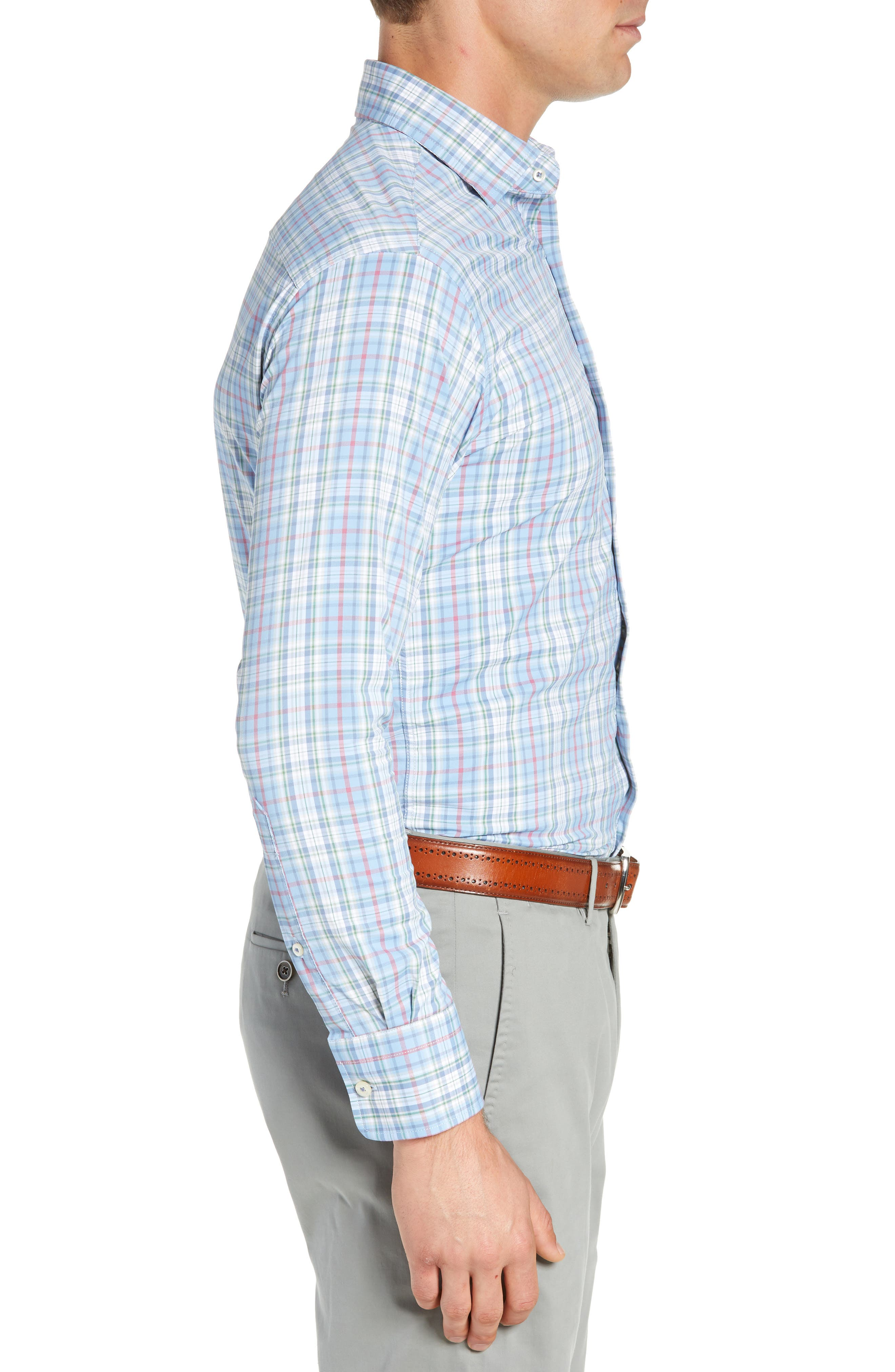 Wyatt Regular Fit Plaid Performance Sport Shirt,                             Alternate thumbnail 3, color,                             400