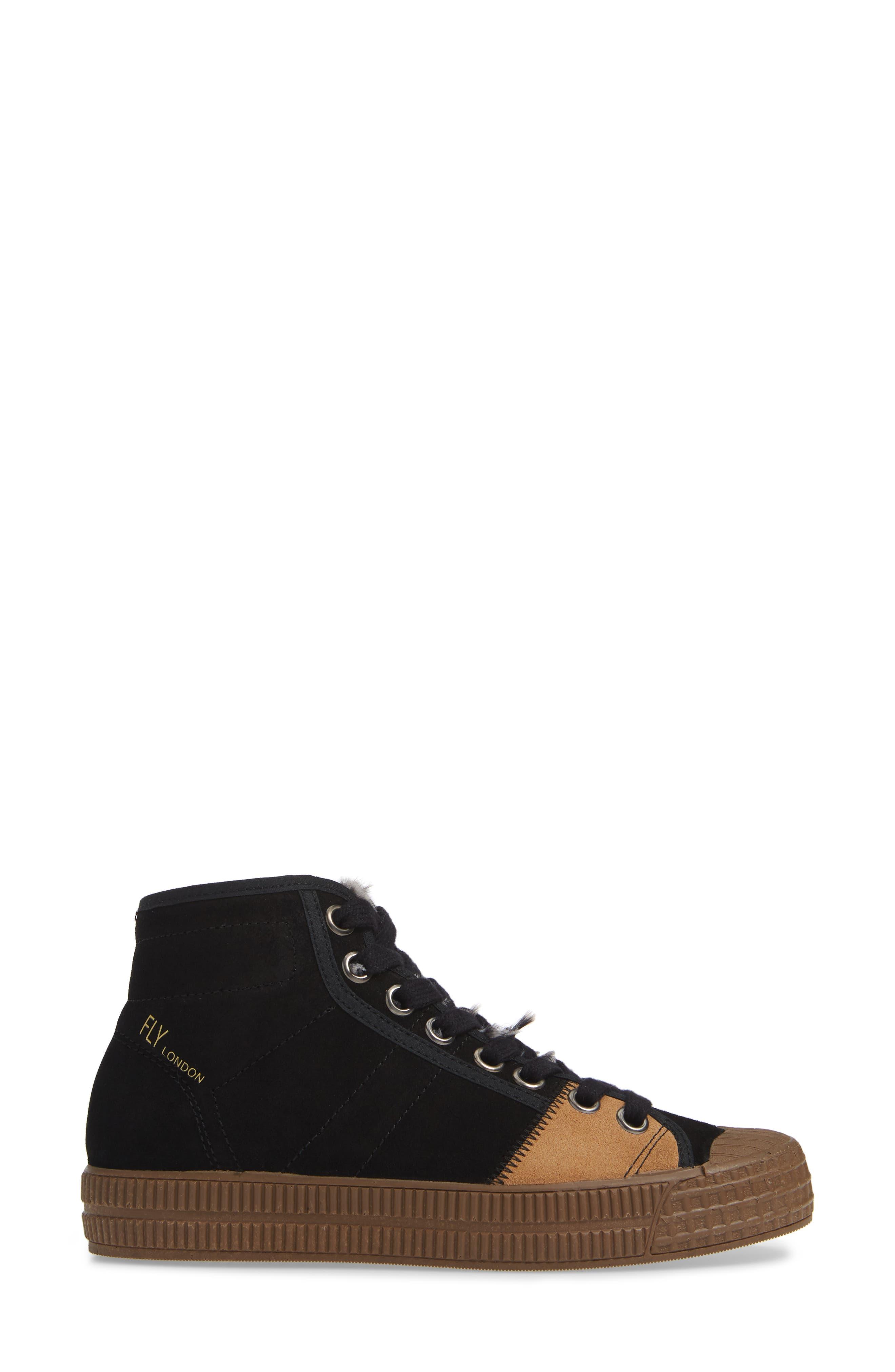 Femp High Top Sneaker,                             Alternate thumbnail 3, color,                             BLACK/ CAMEL SUEDE