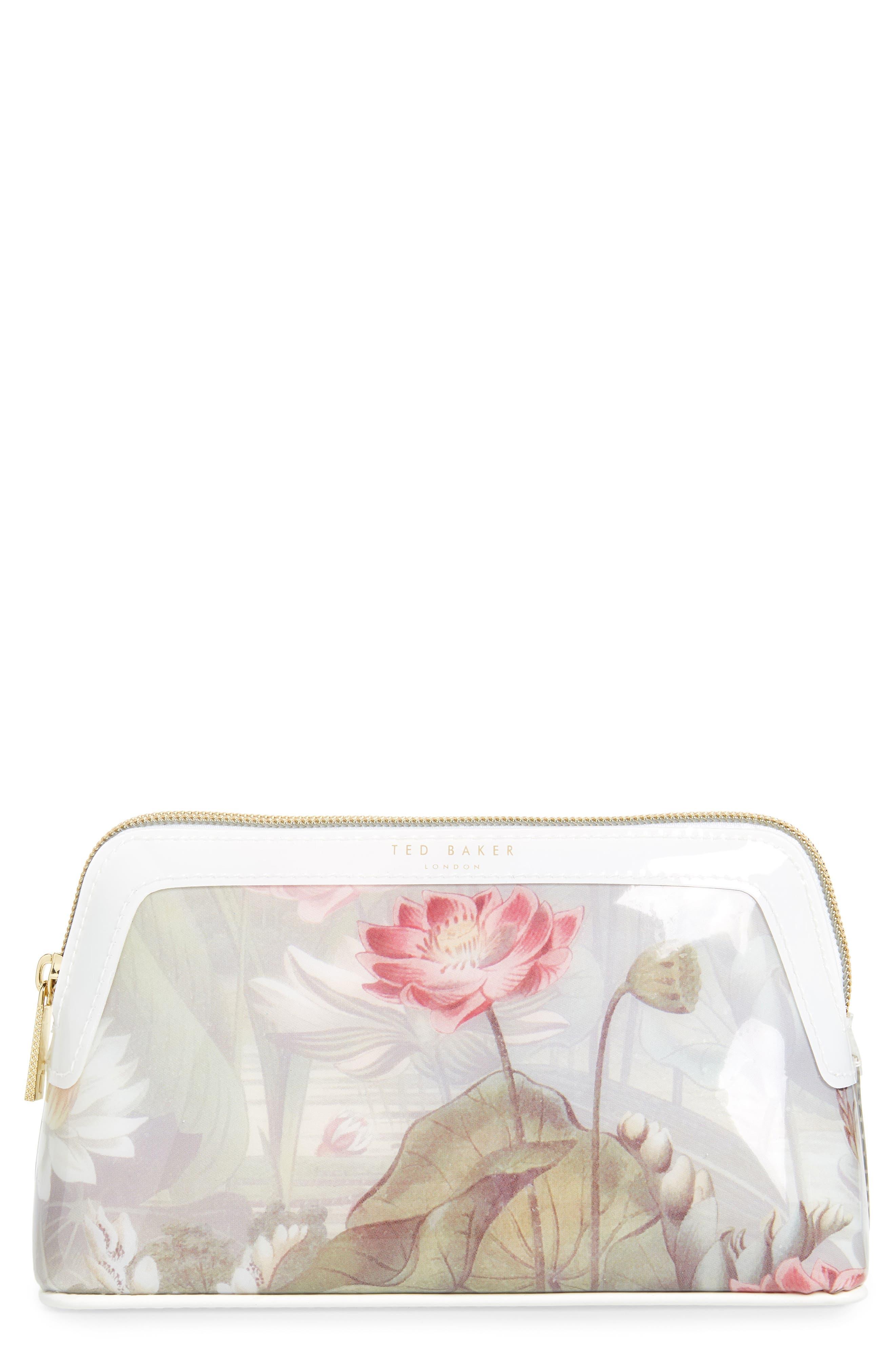 Berrett Floral Cosmetics Case in White