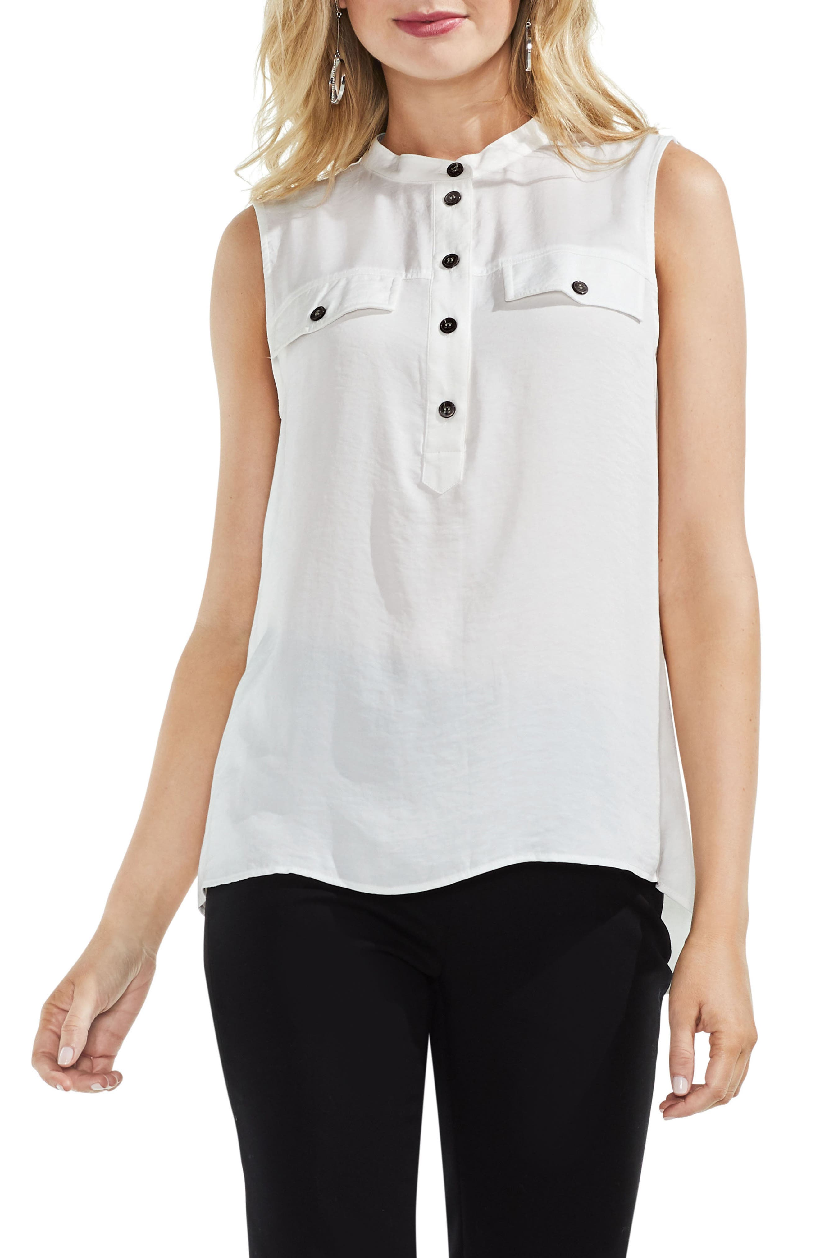 Sleeveless Henley Blouse,                         Main,                         color,