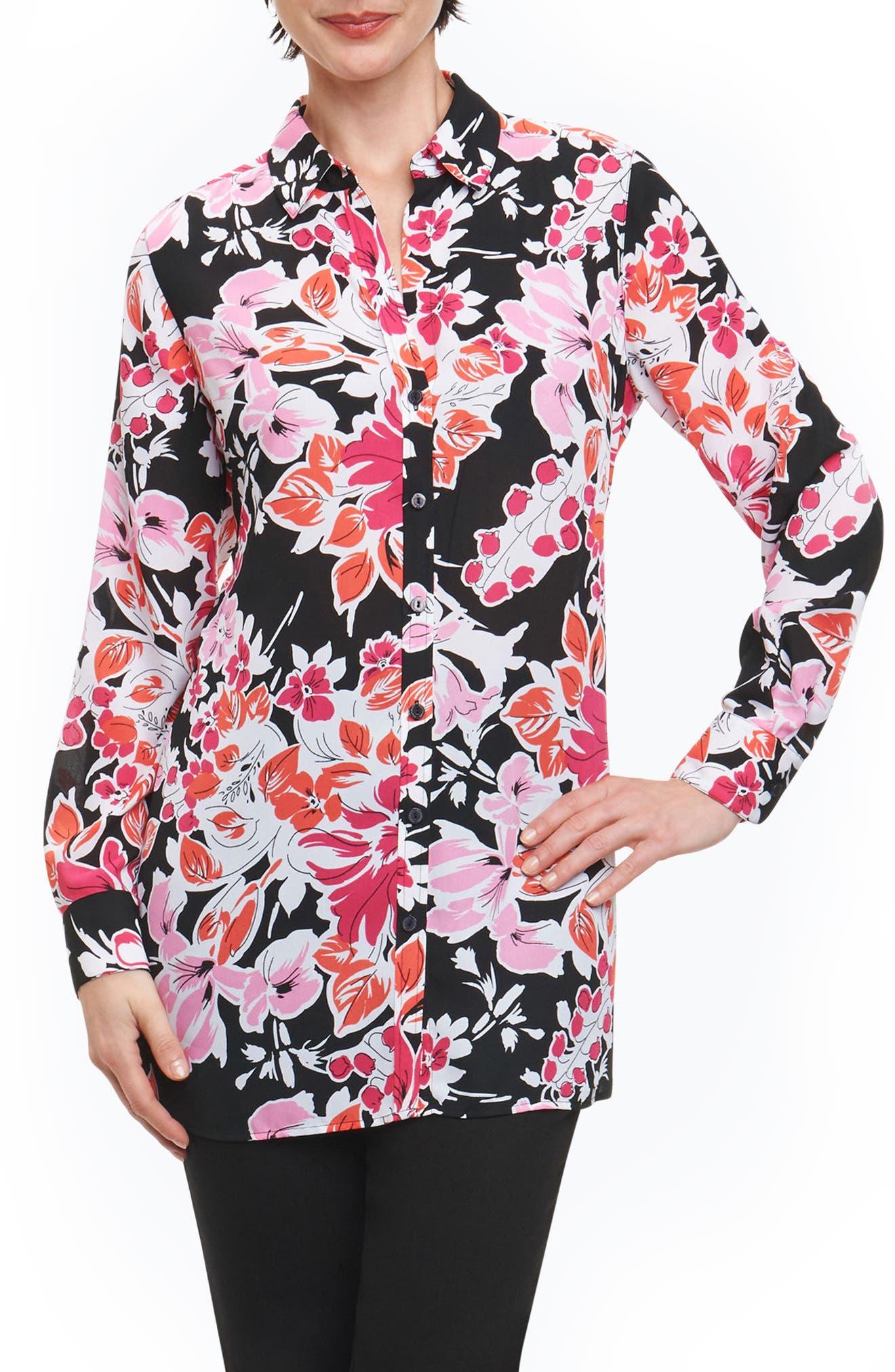 Jade Blooming Floral Tunic Shirt,                             Main thumbnail 1, color,                             003