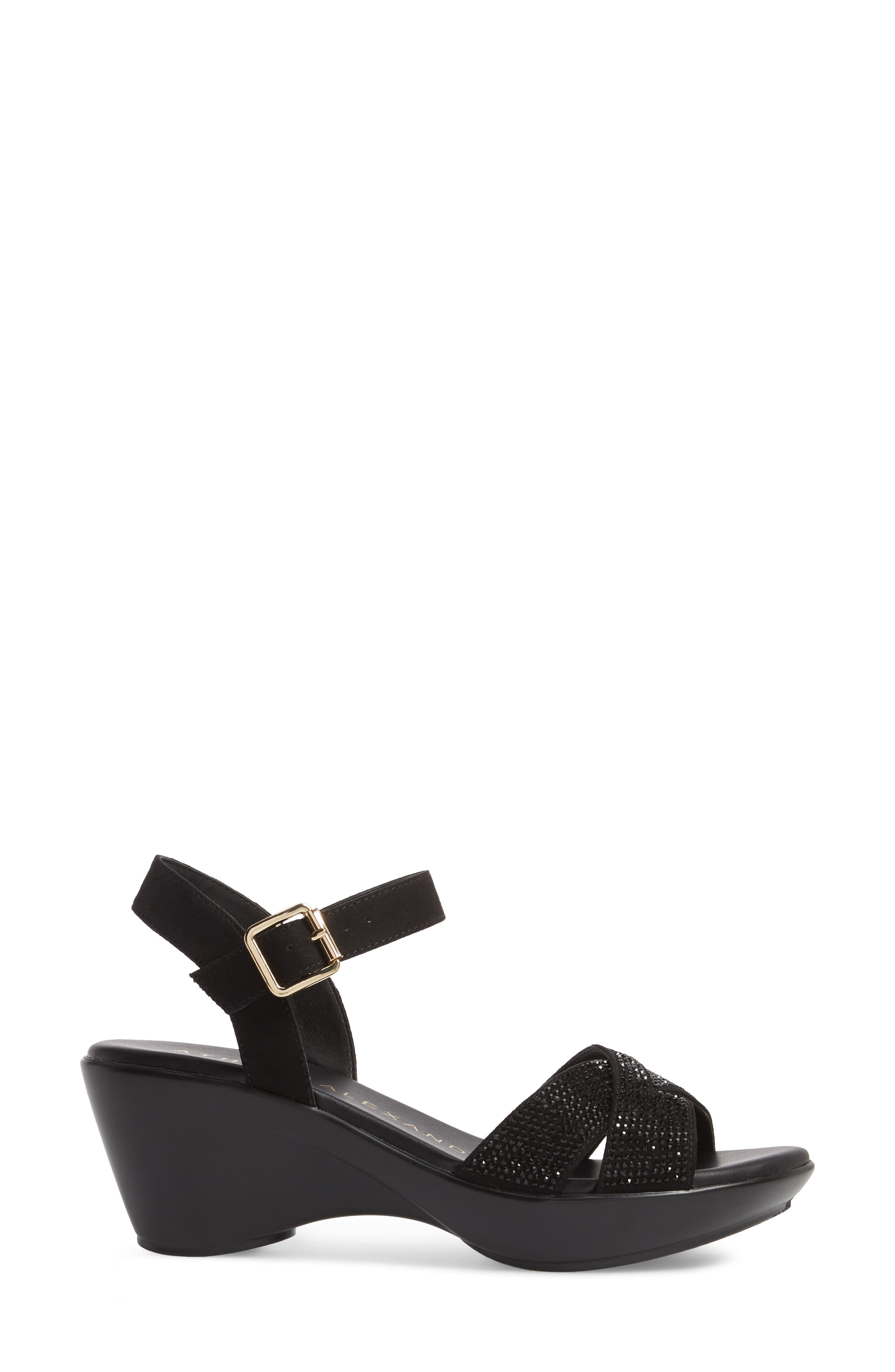 Florence Wedge Sandal,                             Alternate thumbnail 3, color,                             BLACK FAUX SUEDE