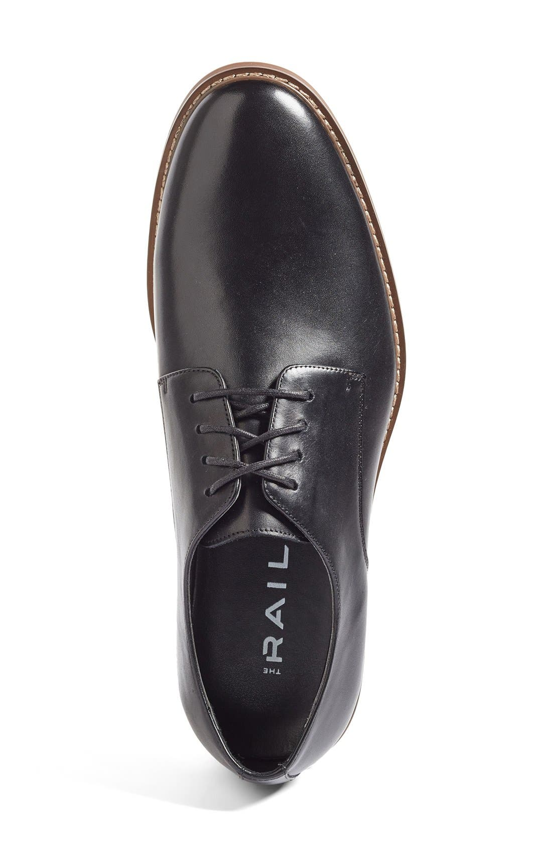 Everett Plain Toe Derby,                             Alternate thumbnail 4, color,                             BLACK LEATHER