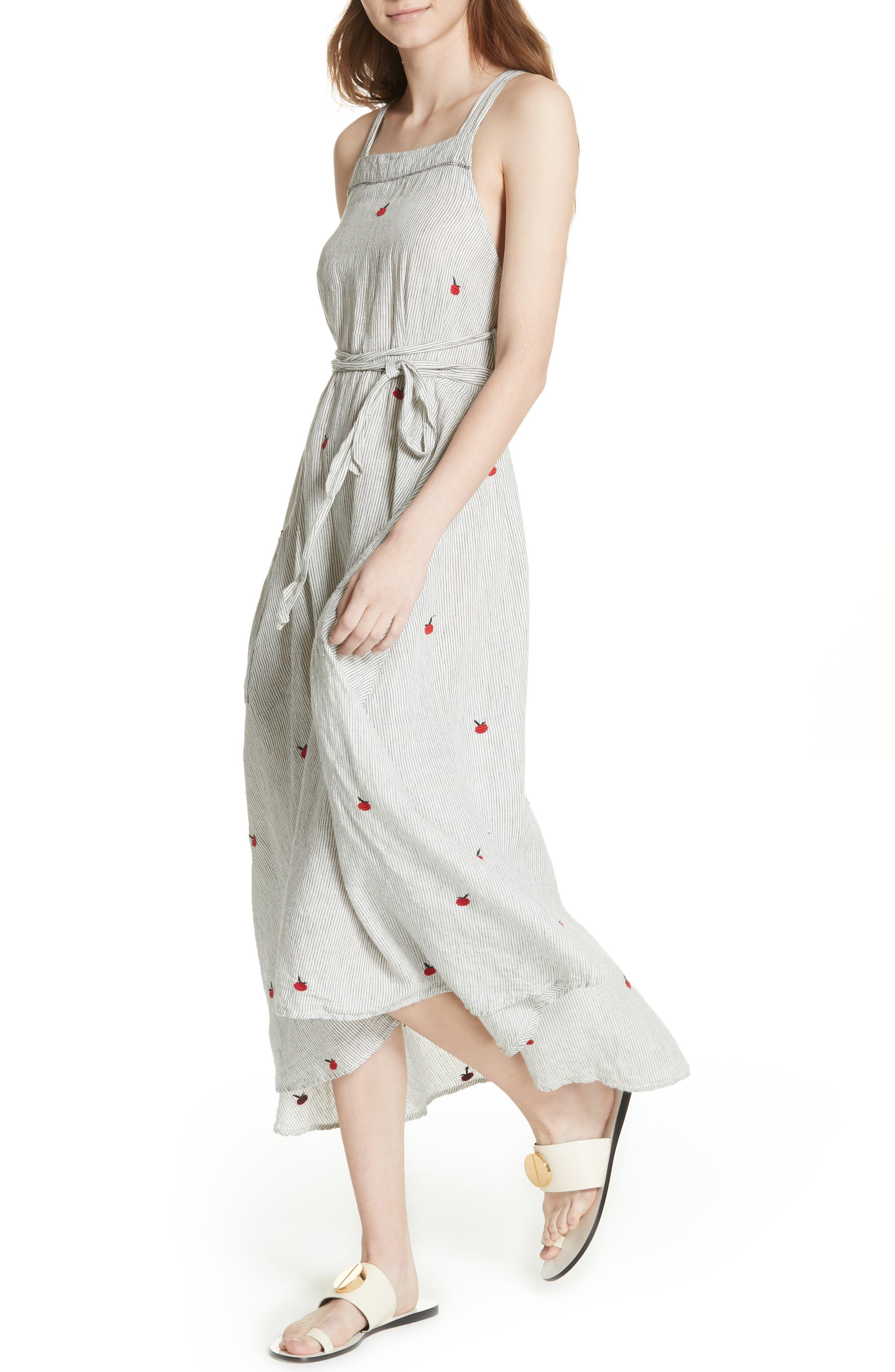The Apron Dress,                             Alternate thumbnail 4, color,                             BLACK/ WHITE/ APPLE
