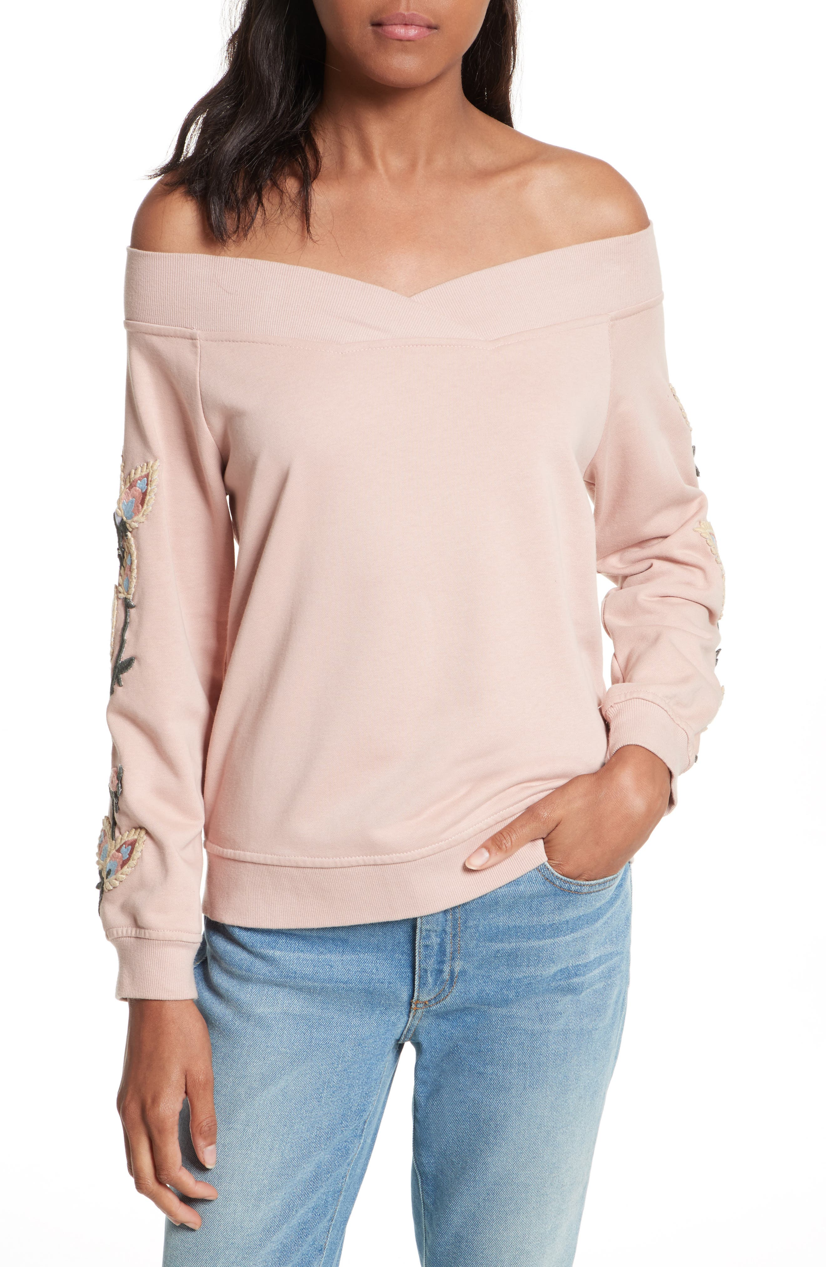 Macey Embroidered Sweatshirt,                         Main,                         color, 665