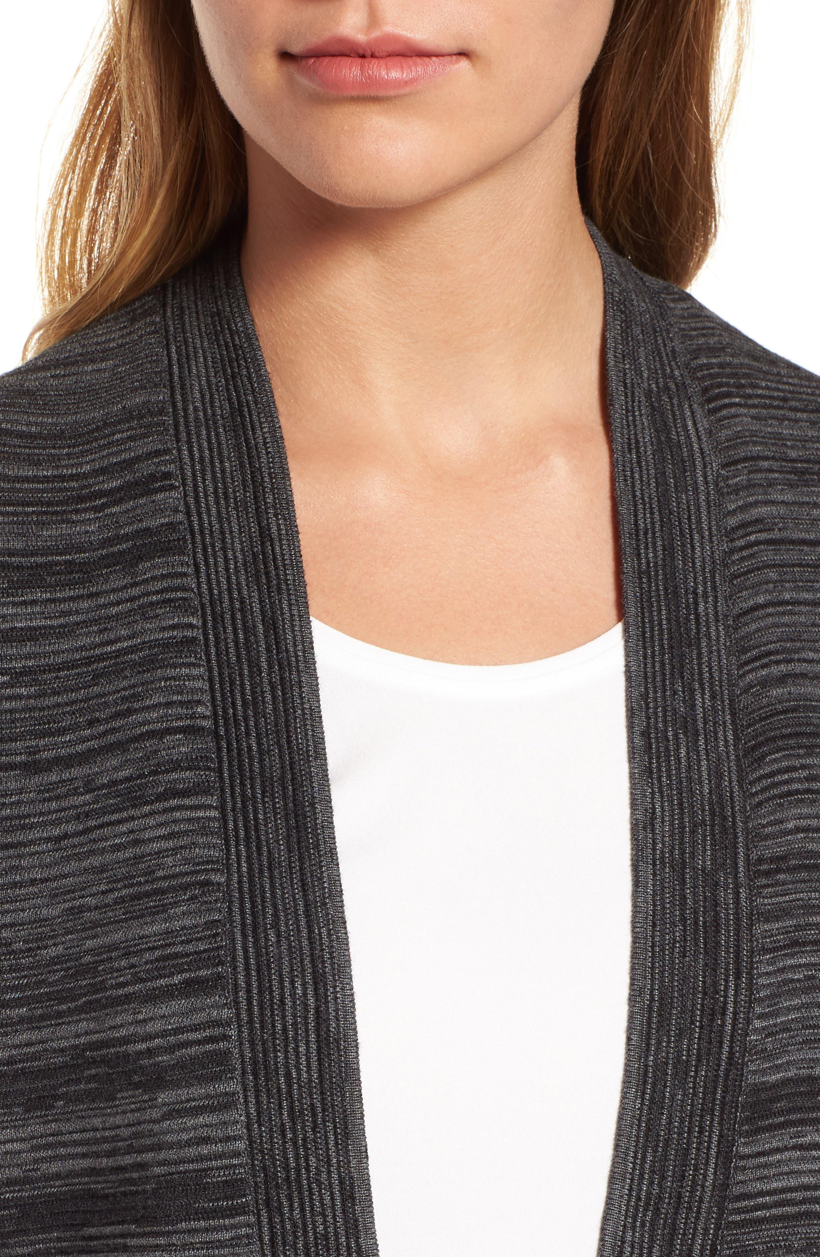 Tencel<sup>®</sup> Lyocell & Organic Cotton Cardigan,                             Alternate thumbnail 4, color,                             001