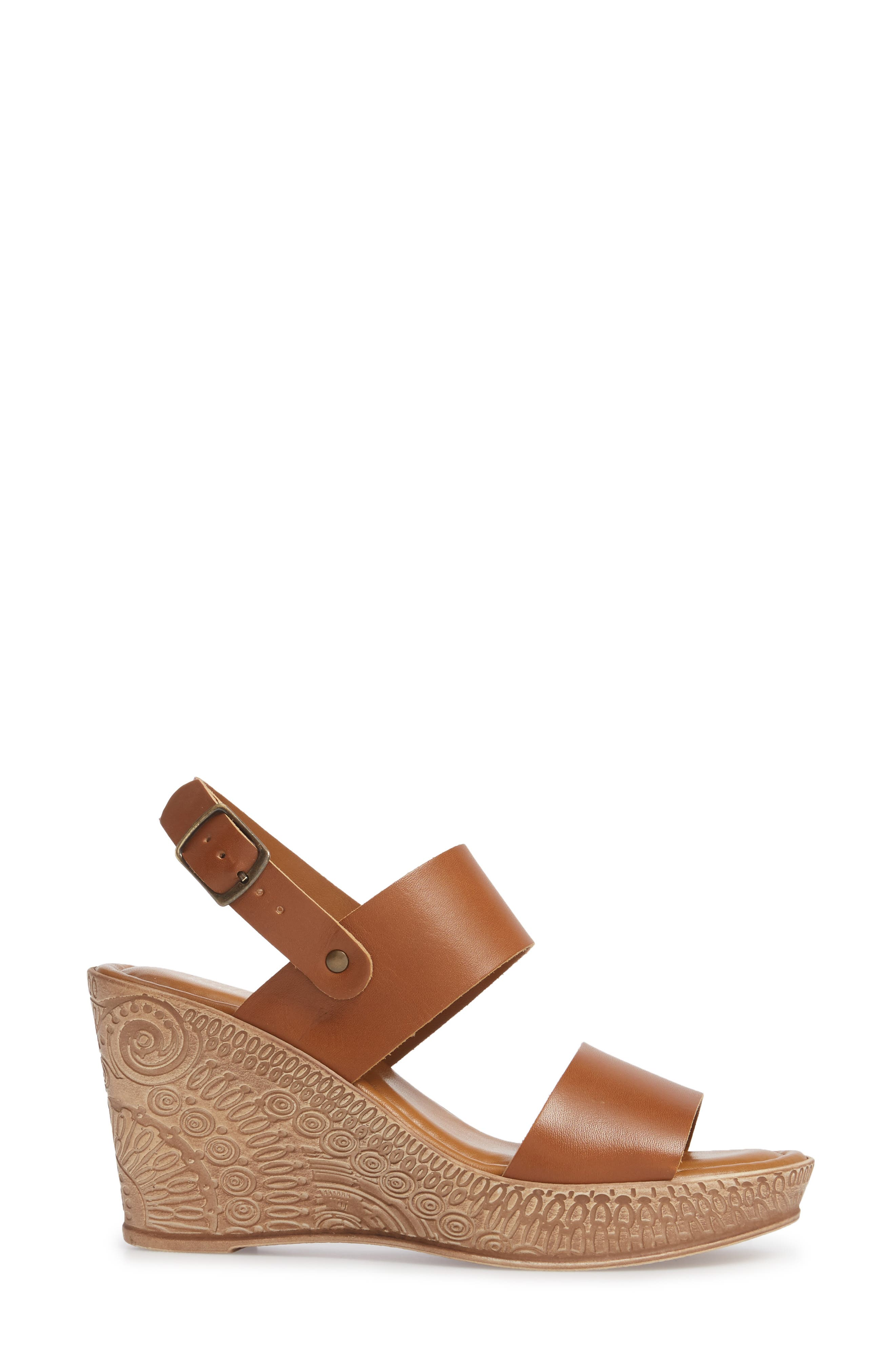 Cor Wedge Sandal,                             Alternate thumbnail 3, color,                             WHISKEY LEATHER