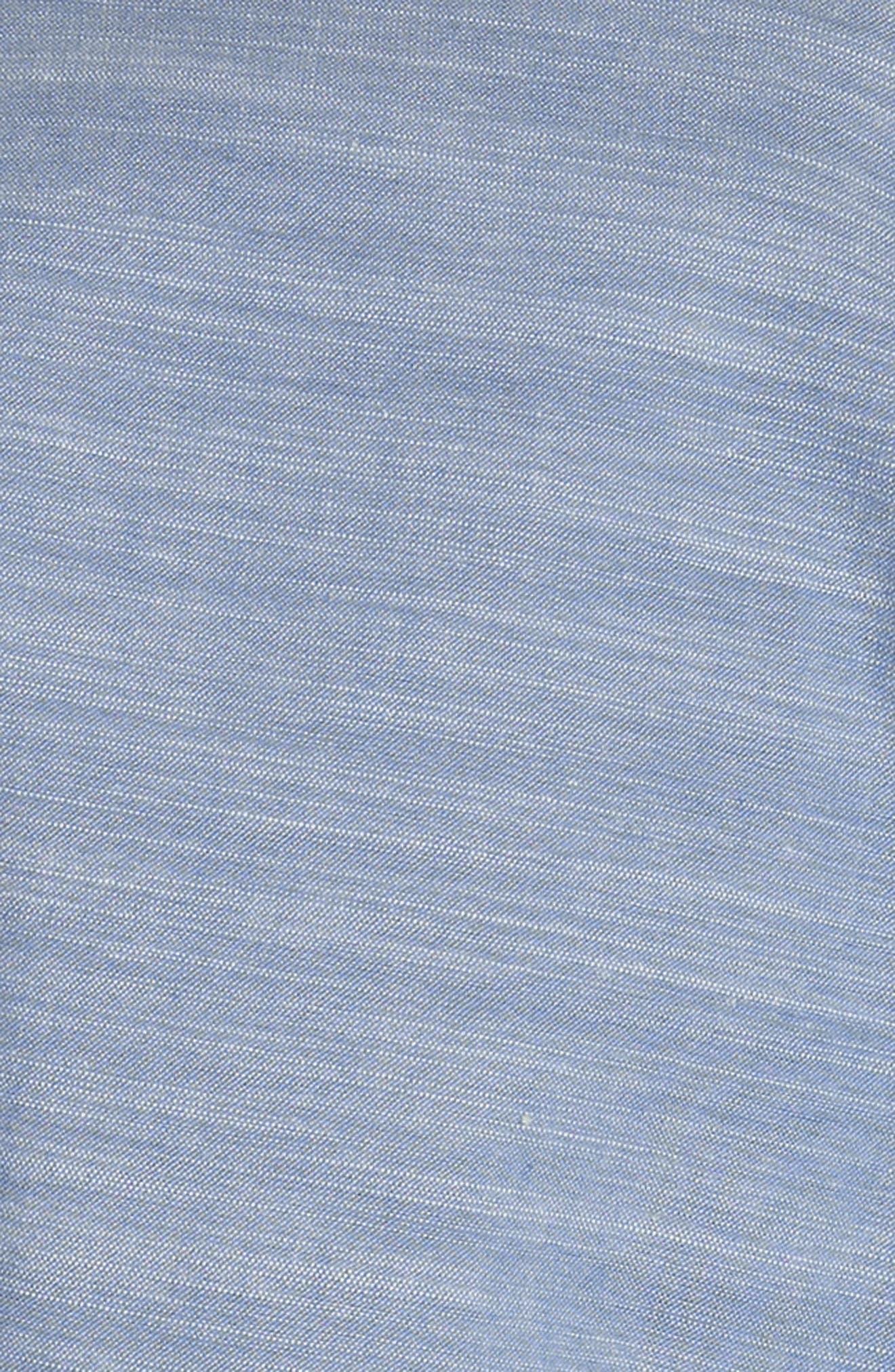 Ecidra Drawstring Waist Chambray Dress,                             Alternate thumbnail 6, color,                             CHAMBRAY PORCELAIN