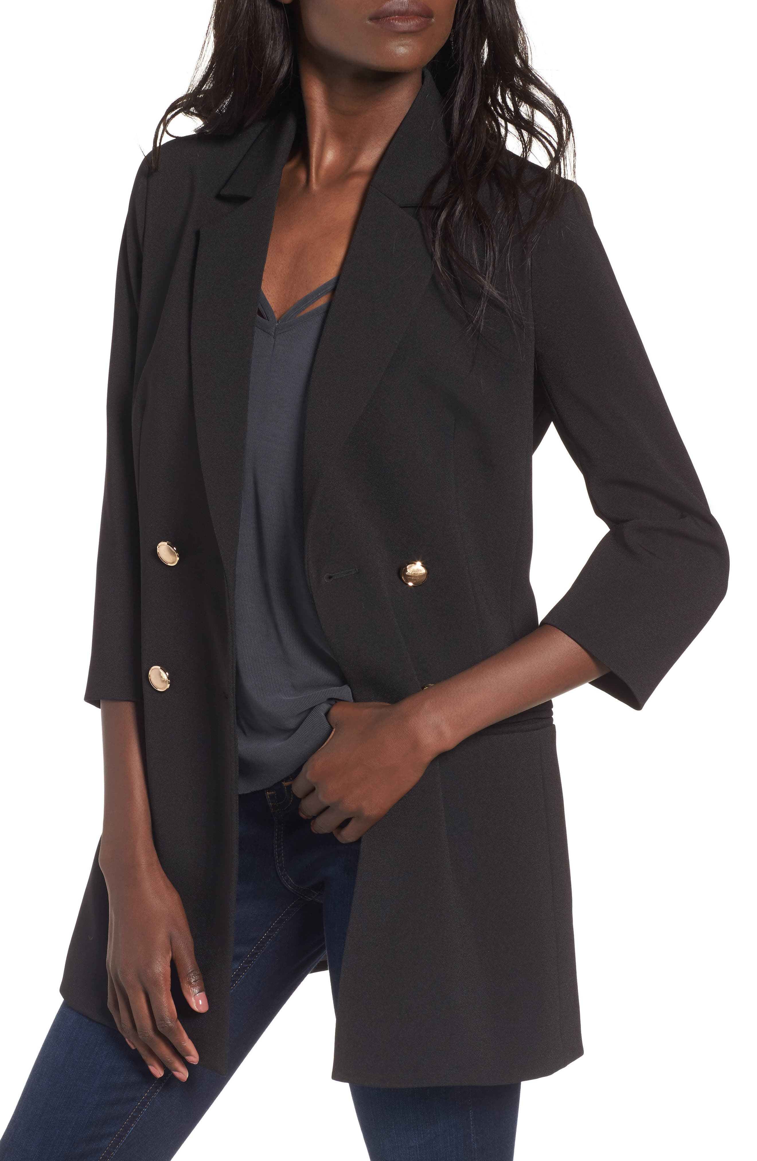 Longline Double Breasted Blazer,                             Main thumbnail 1, color,                             001