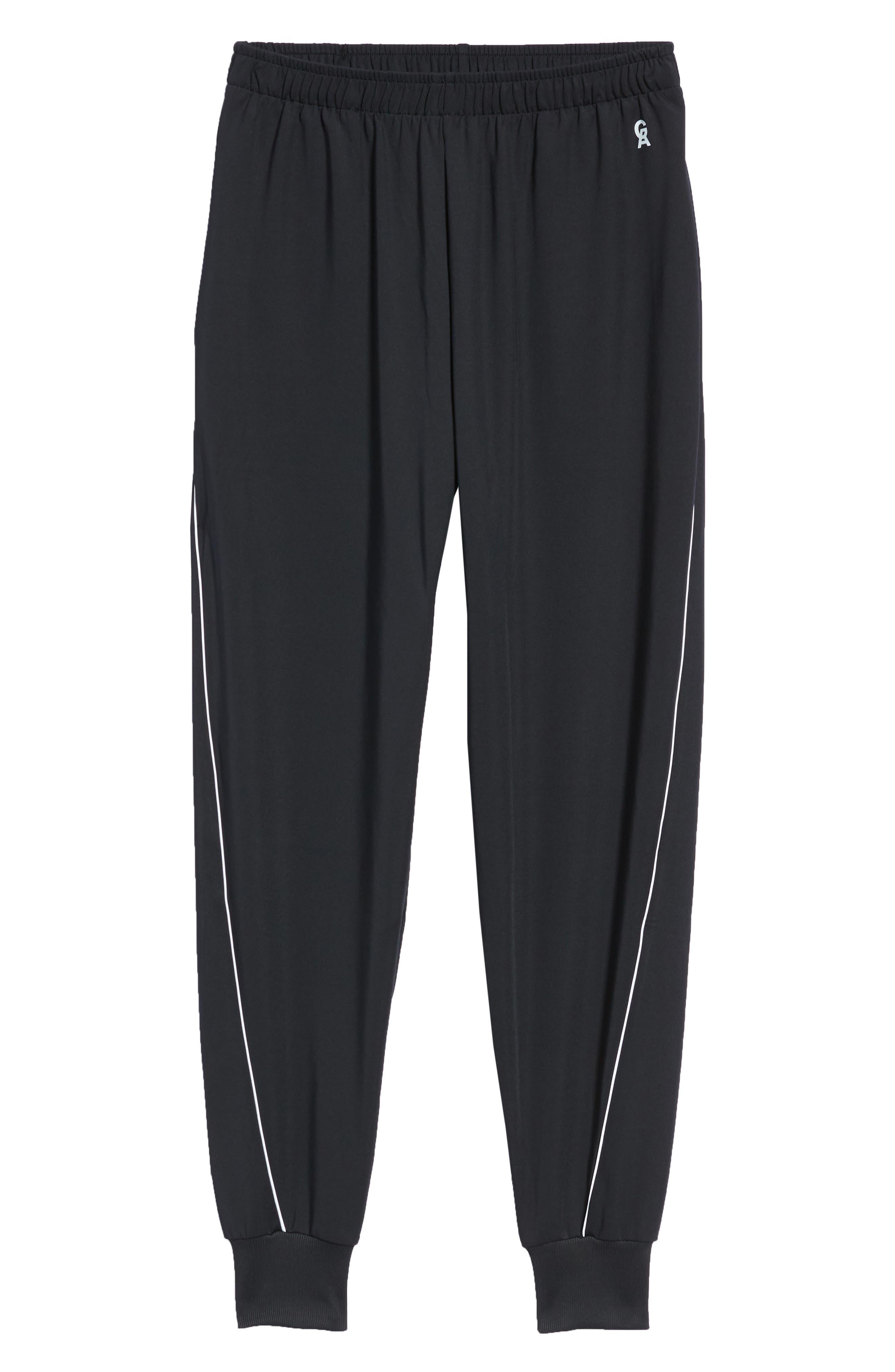 Piped Jogger Pants,                             Alternate thumbnail 4, color,                             BLACK001