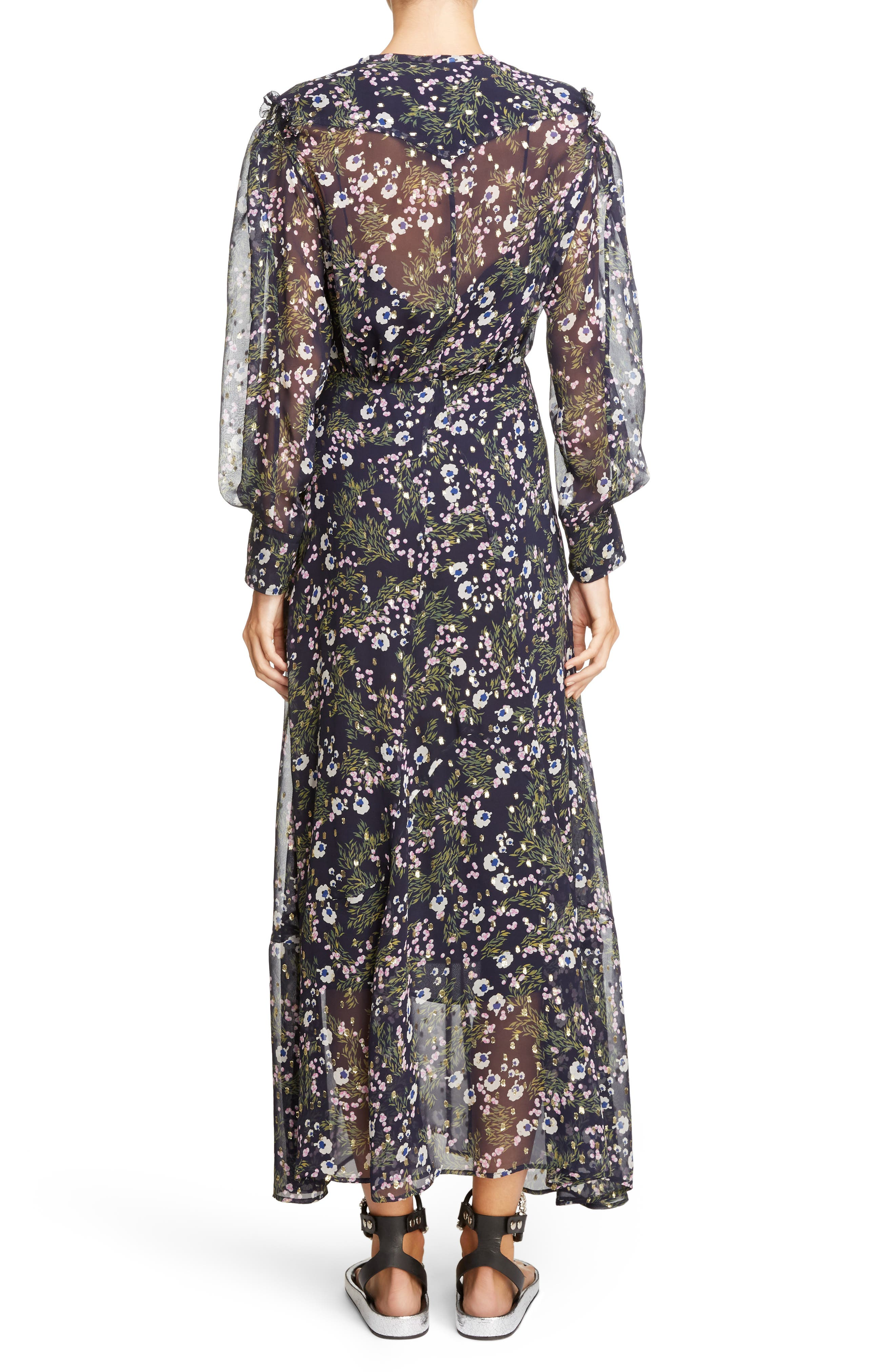 Metallic Bloom Silk Maxi Dress,                             Alternate thumbnail 2, color,                             MIDNIGHT