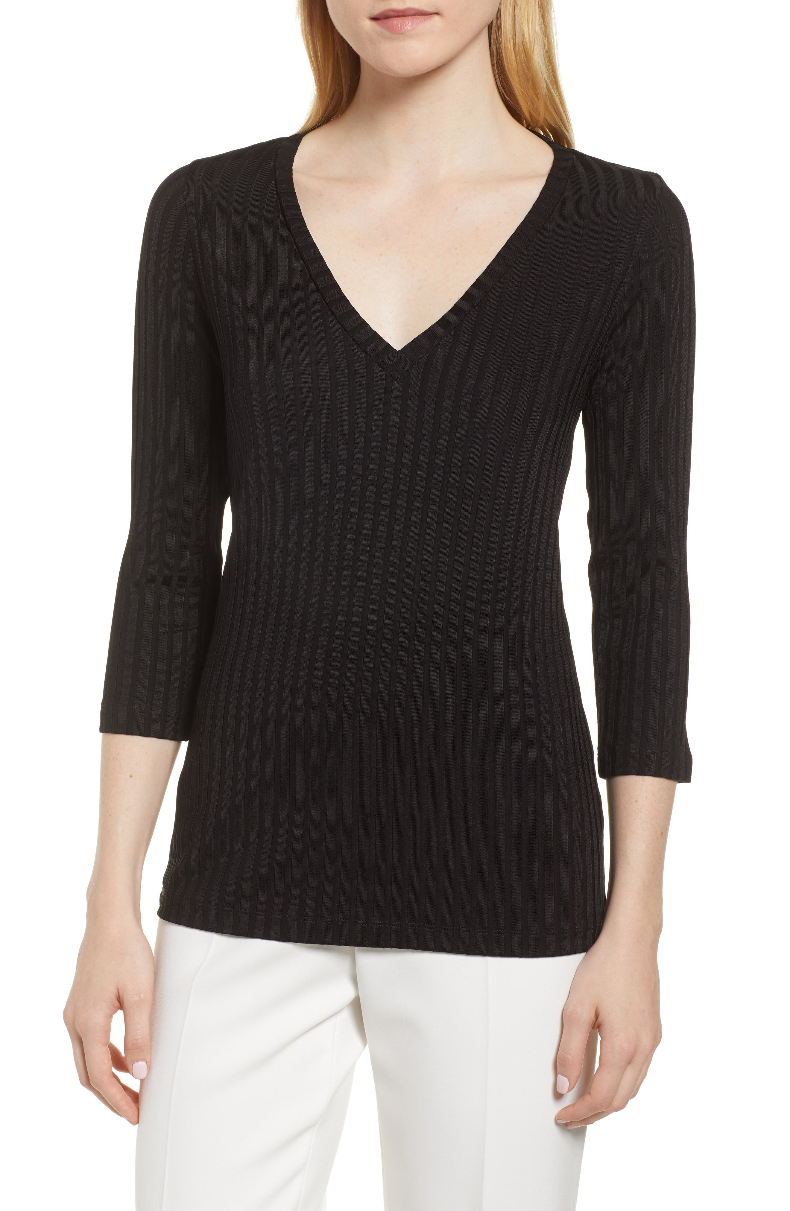 Etrica Ribbed Sweater,                             Main thumbnail 1, color,                             001