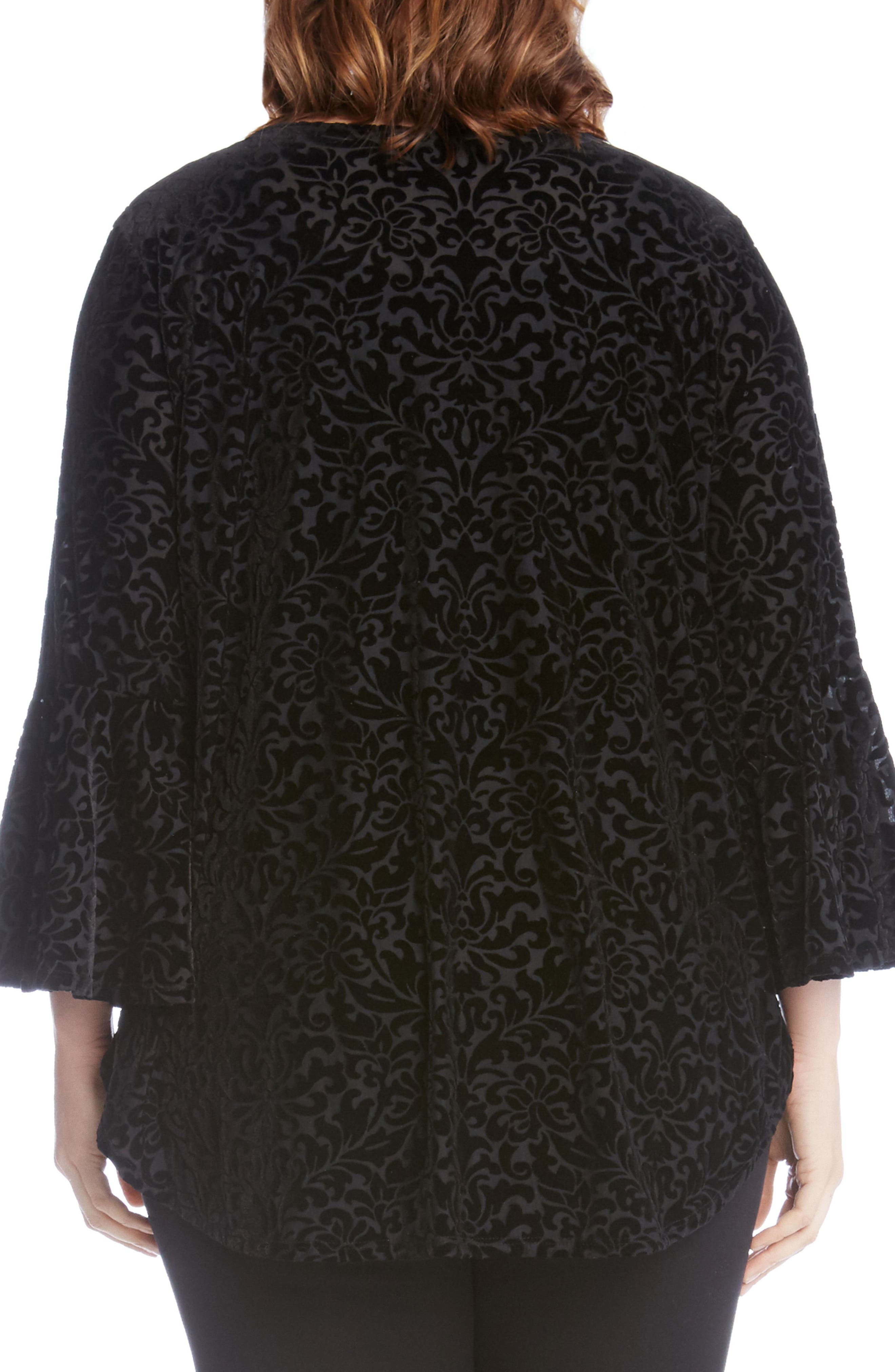 Velvet Burnout Bell Sleeve Top,                             Alternate thumbnail 2, color,                             001