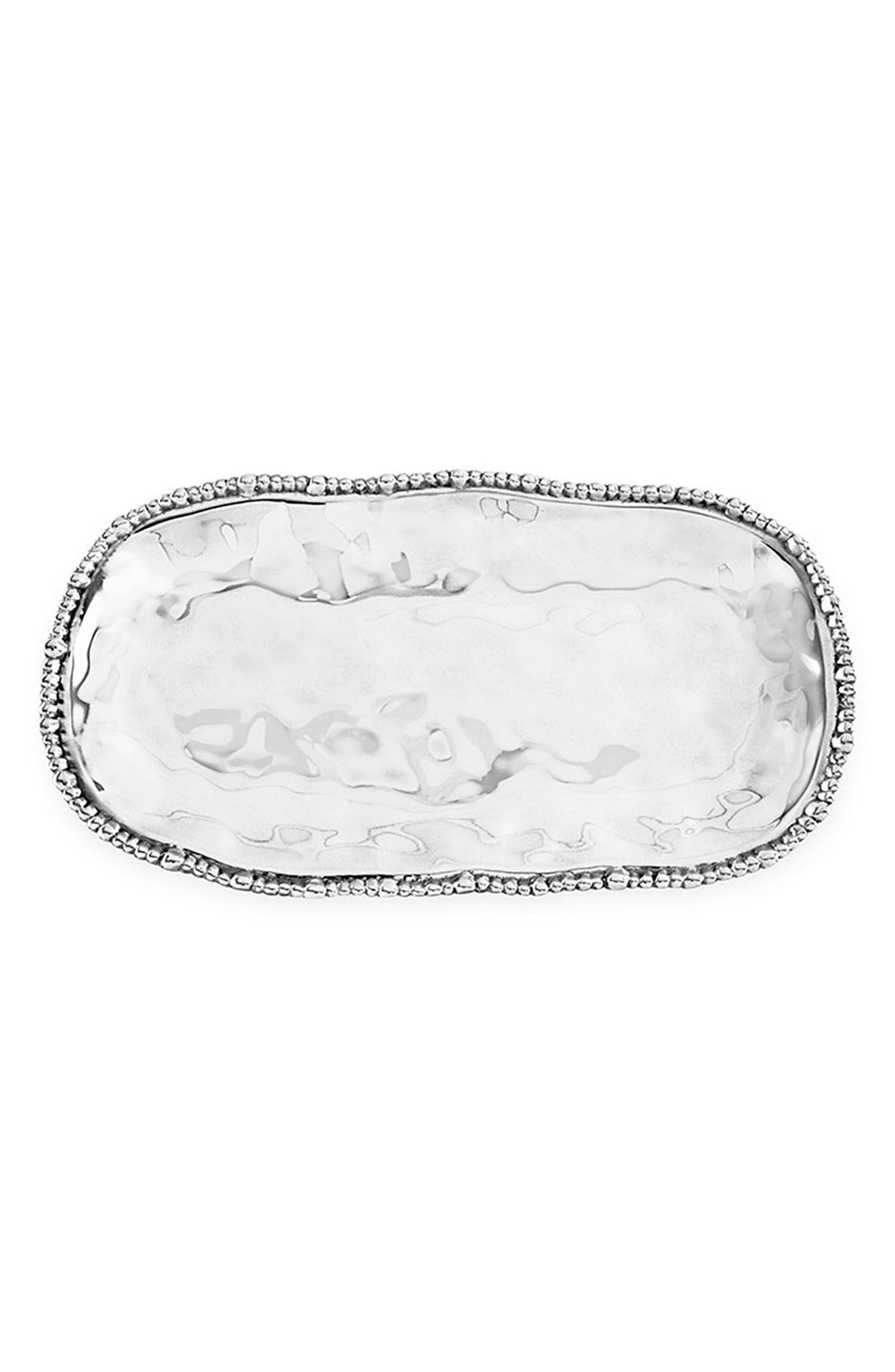 BEATRIZ BALL COLLECTION,                             Organic Pearl Nova Oval Serving Platter,                             Main thumbnail 1, color,                             SILVER