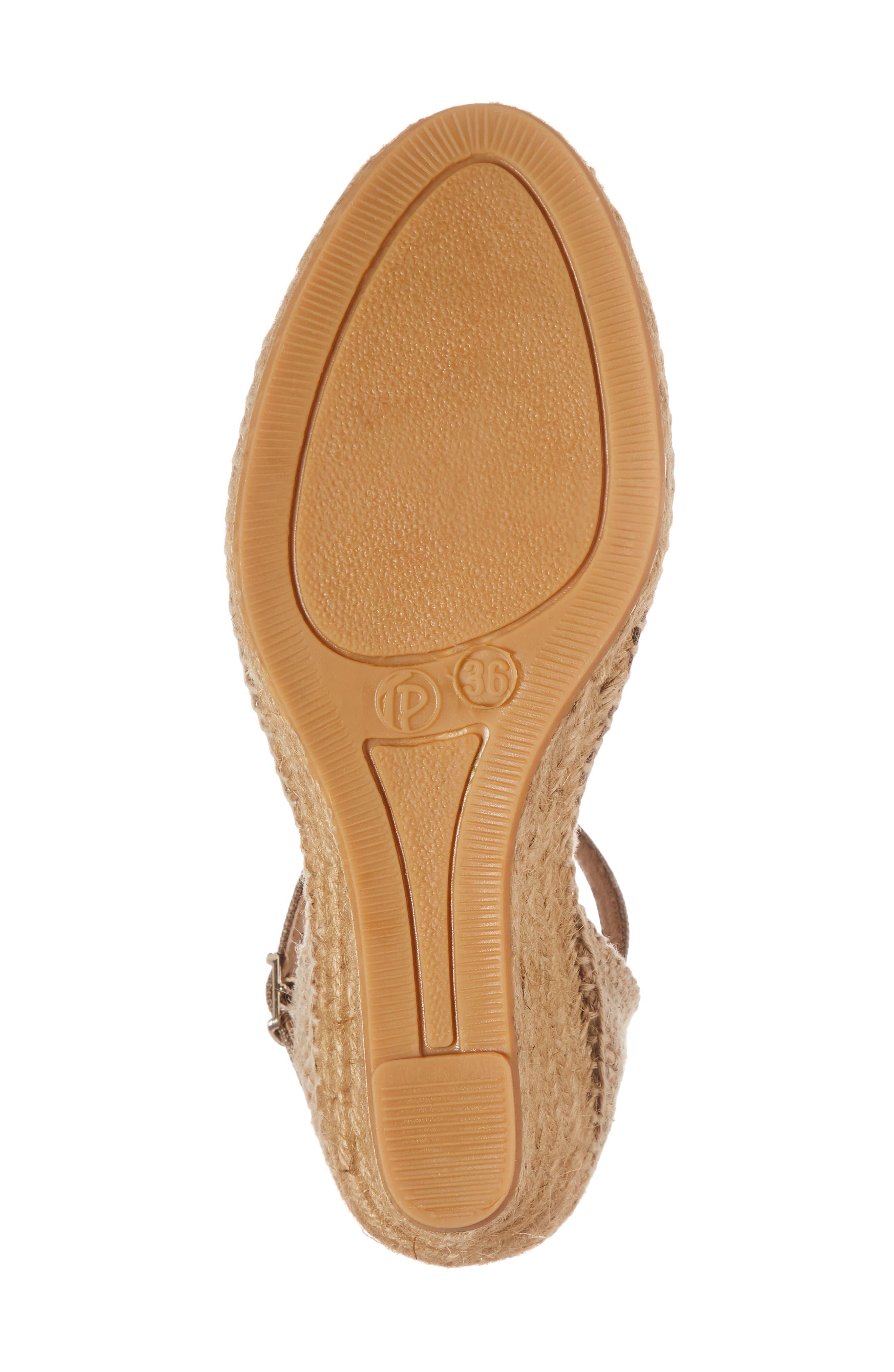 'Caldes' Linen Wedge Sandal,                             Alternate thumbnail 6, color,                             TAUPE FABRIC