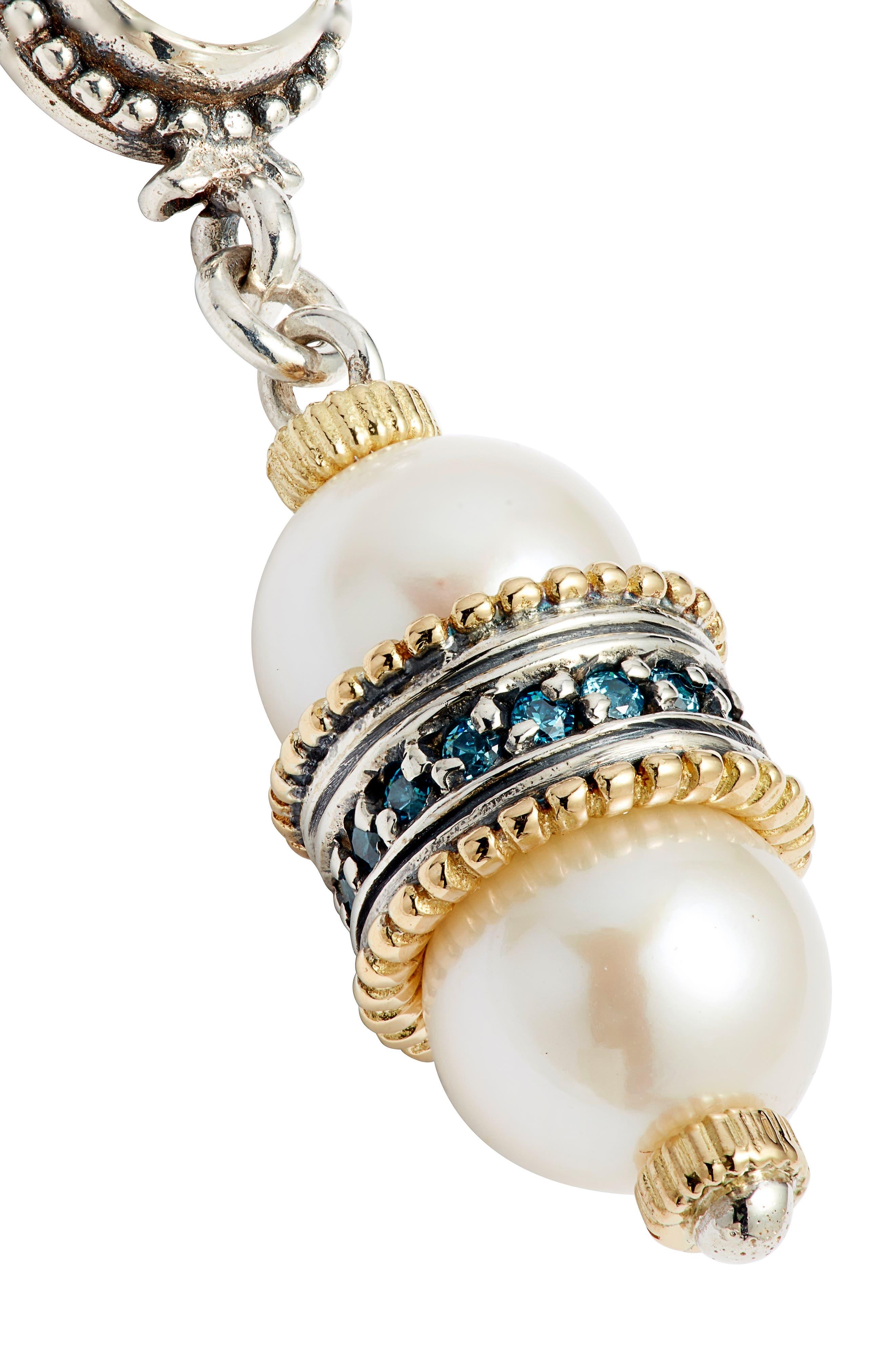 Thalia Double Pearl Drop Earrings,                             Alternate thumbnail 5, color,                             SILVER/ PEARL
