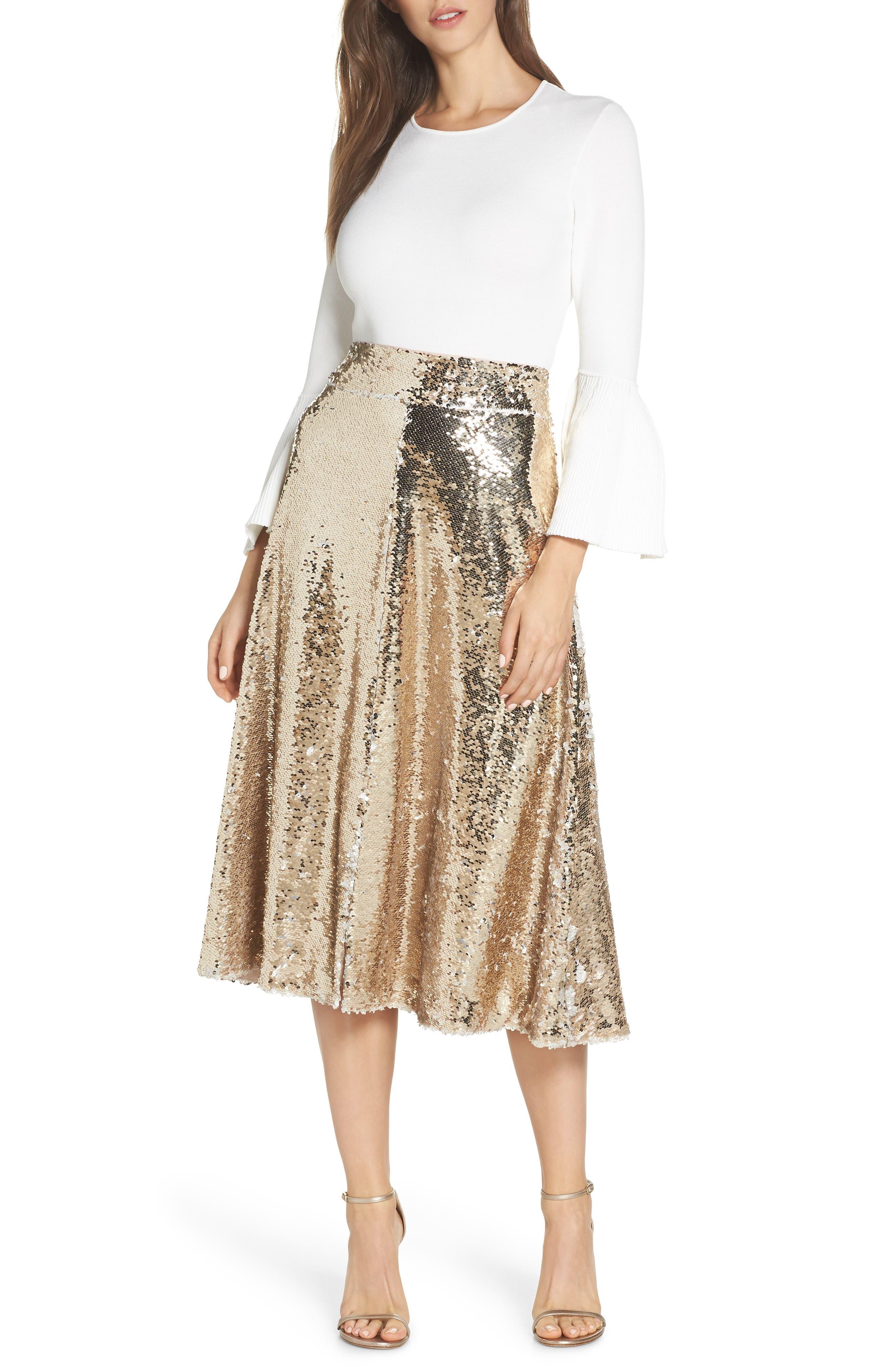 Sequin Embellished A-Line Skirt,                             Alternate thumbnail 8, color,                             GOLD