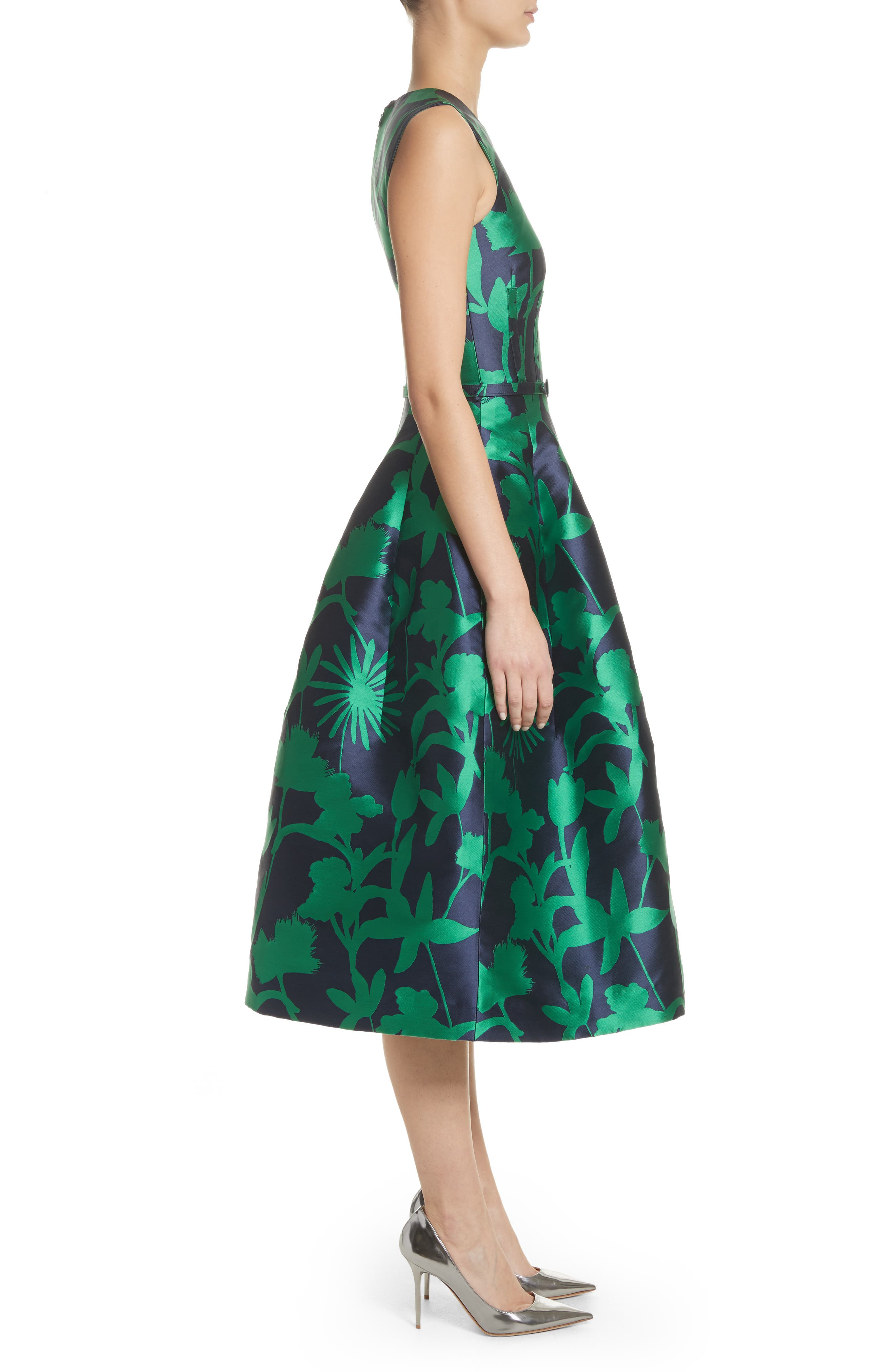 Leaf Print Belted Mikado Dress,                             Alternate thumbnail 3, color,                             404