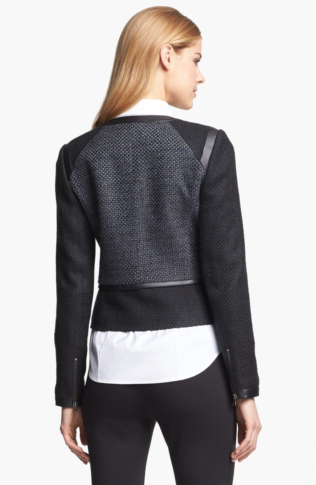 Faux Leather Trim Tweed Jacket,                             Alternate thumbnail 5, color,                             001