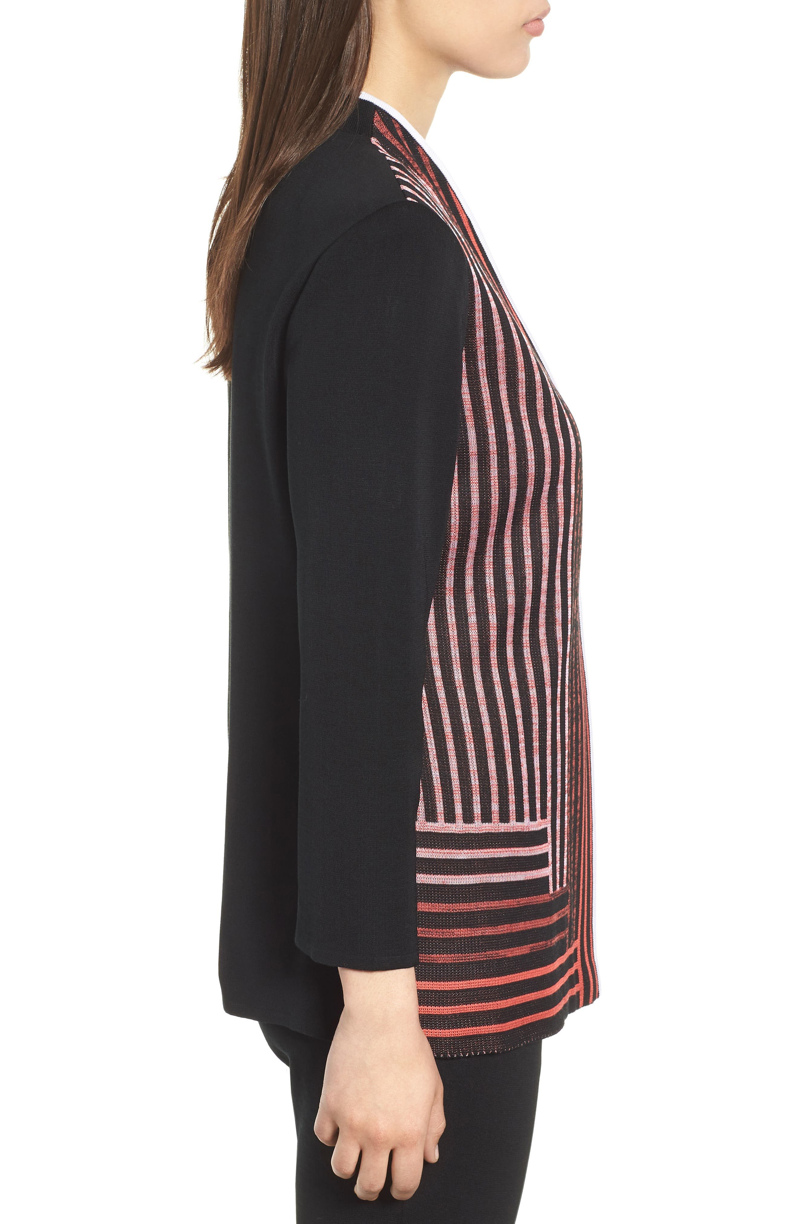 Stripe Knit Jacket,                             Alternate thumbnail 3, color,                             BLACK/ WHITE/ ZINNIA