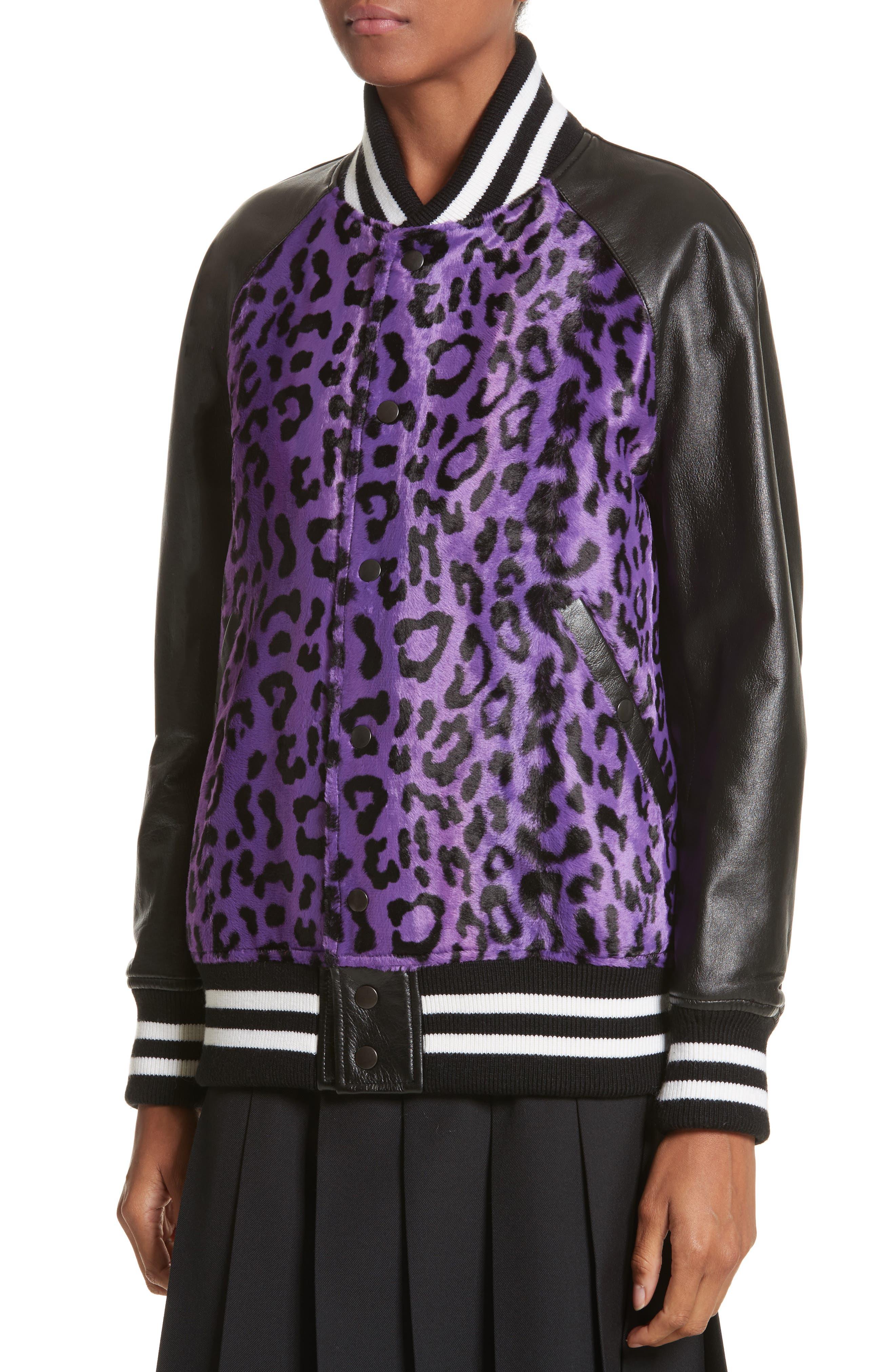 Cheetah Print Faux Fur & Leather Track Jacket,                             Alternate thumbnail 4, color,                             540