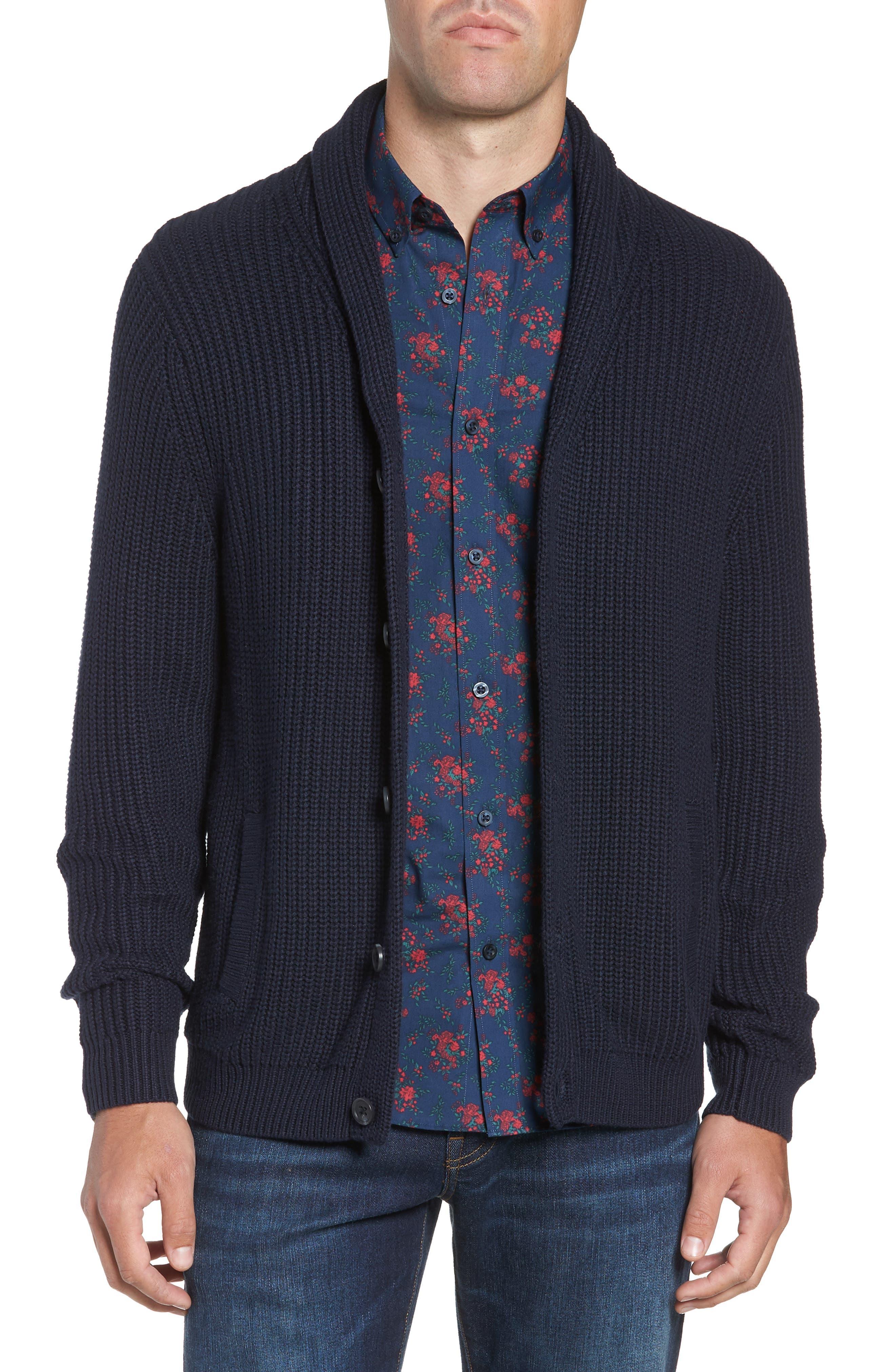 Nordstrom Shop Chunky Rib Shawl Collar Cardigan, Blue