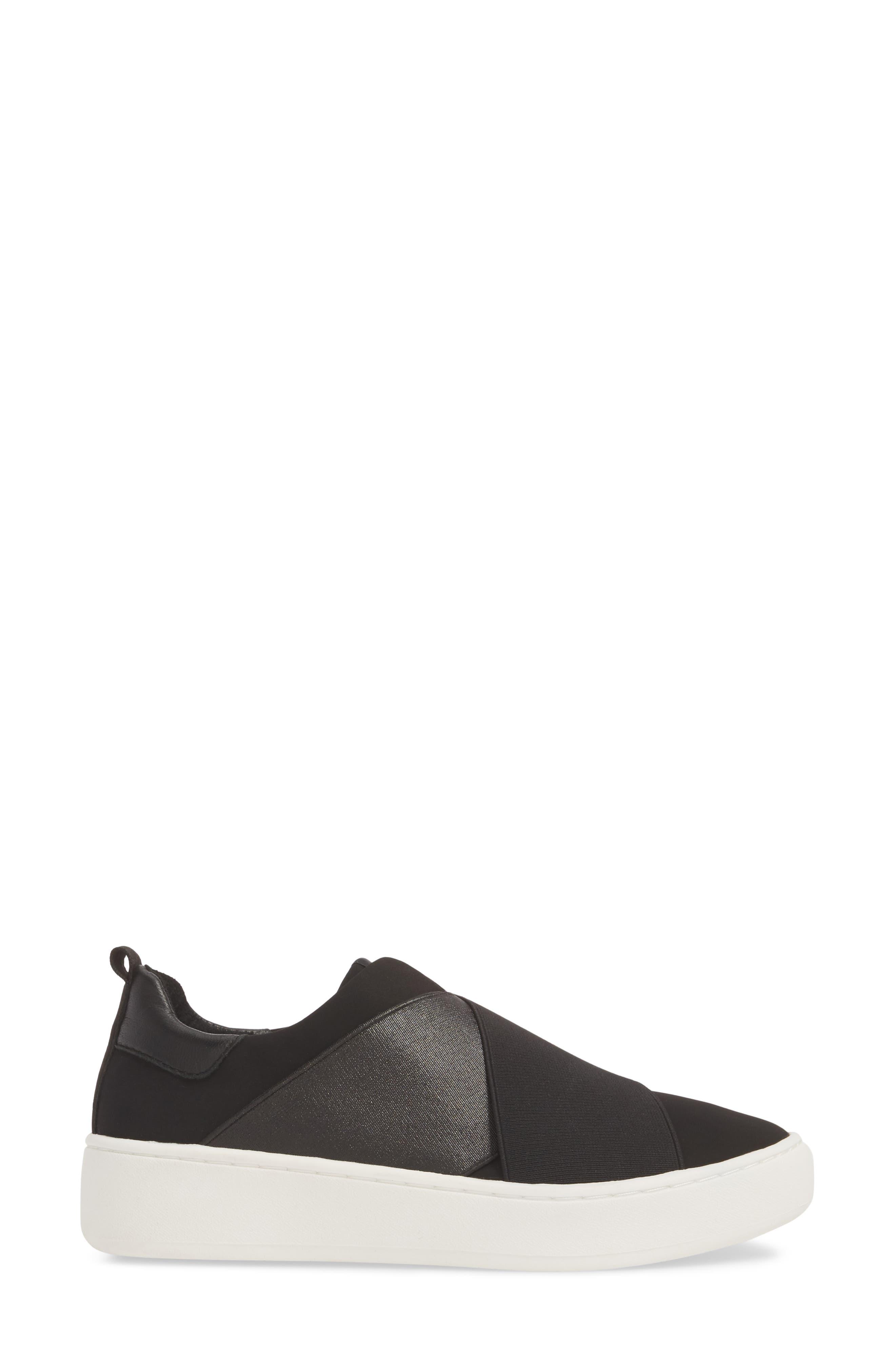 Coley Platform Slip-On Sneaker,                             Alternate thumbnail 3, color,                             BLACK LEATHER