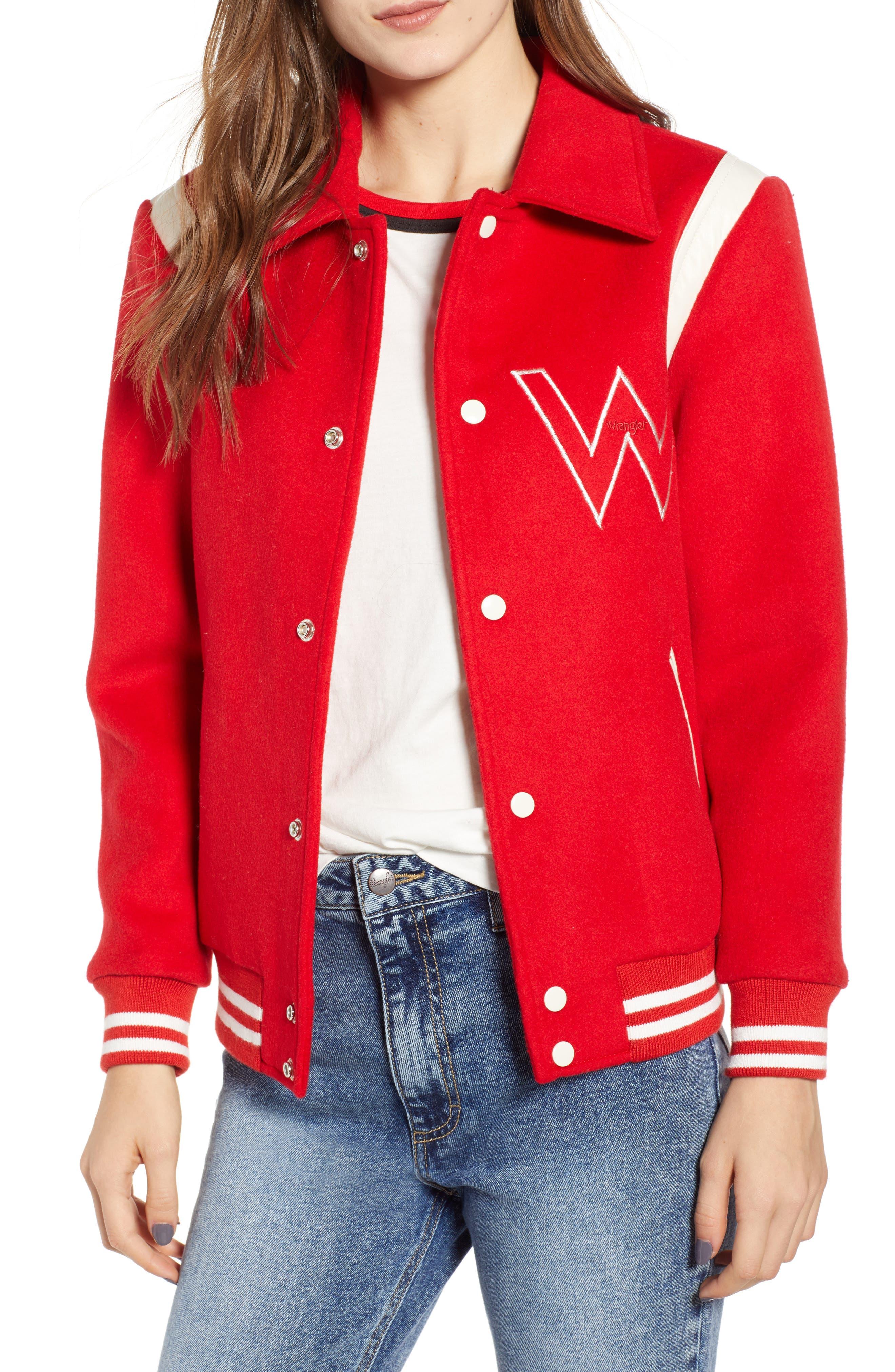 Varsity Bomber Jacket, Main, color, SALSA RED
