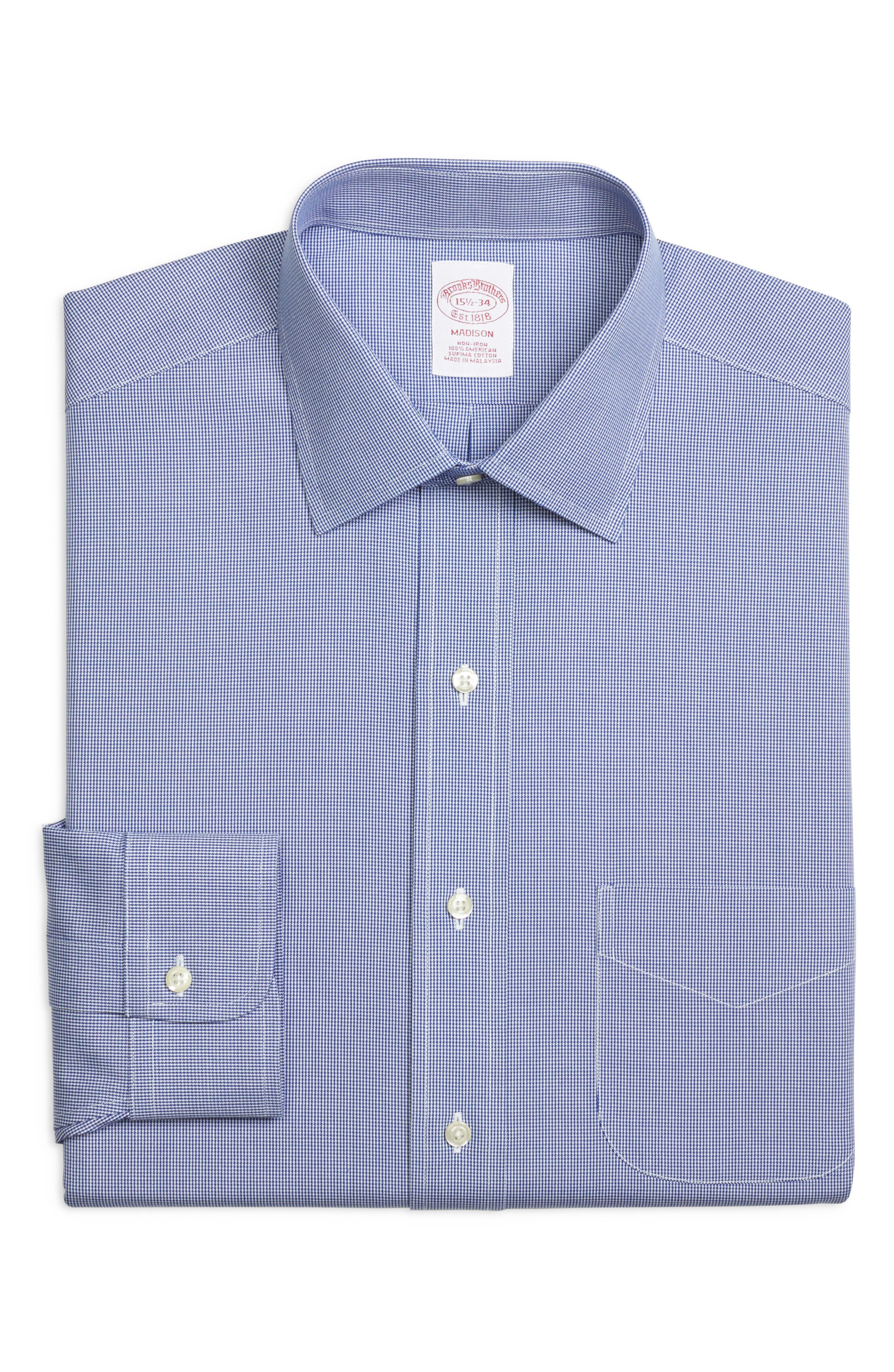 Classic Fit Houndstooth Dress Shirt,                         Main,                         color, BLUE