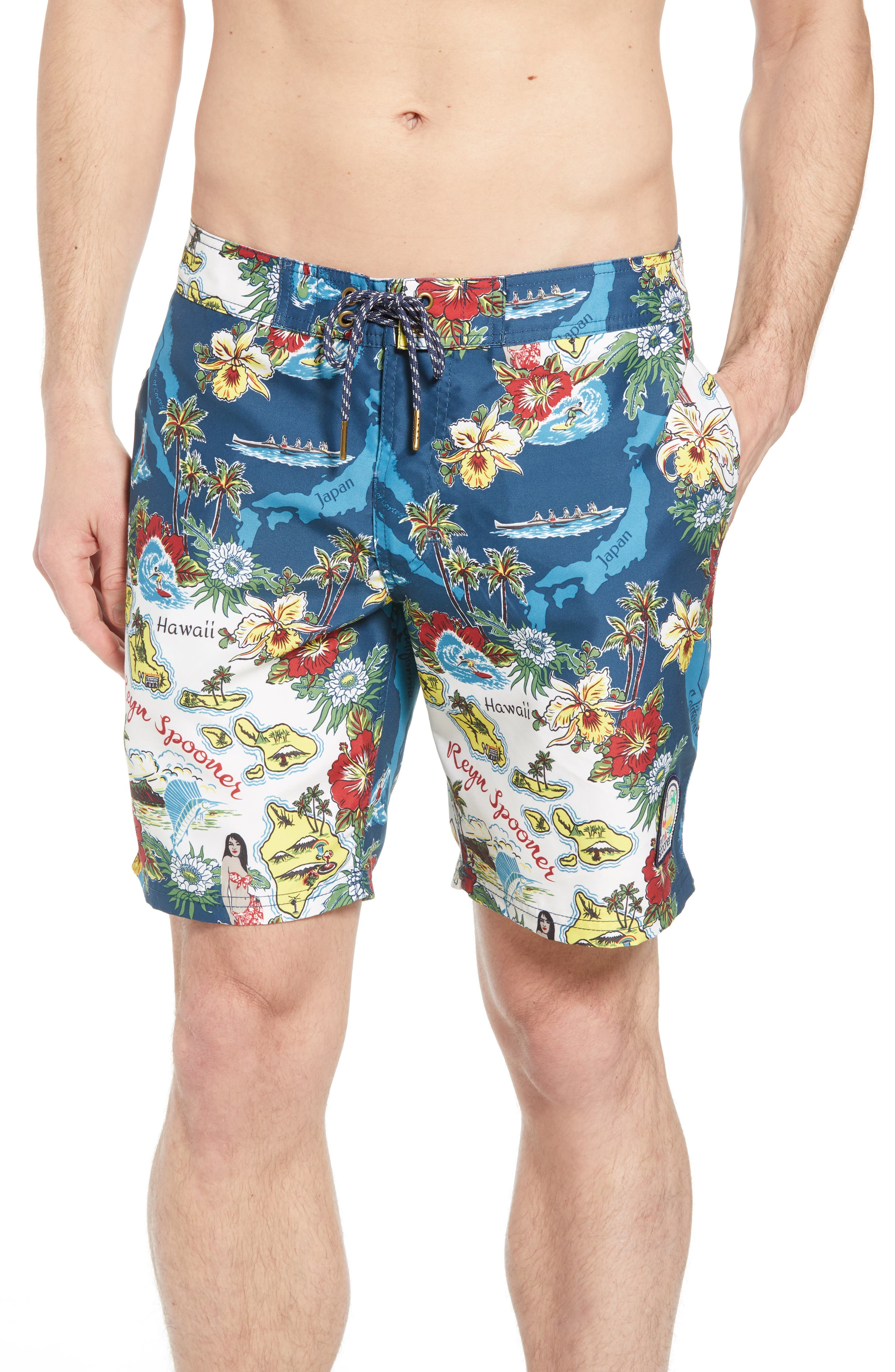 Status Oceanic Regular Fit Board Shorts,                             Main thumbnail 1, color,                             BLUE