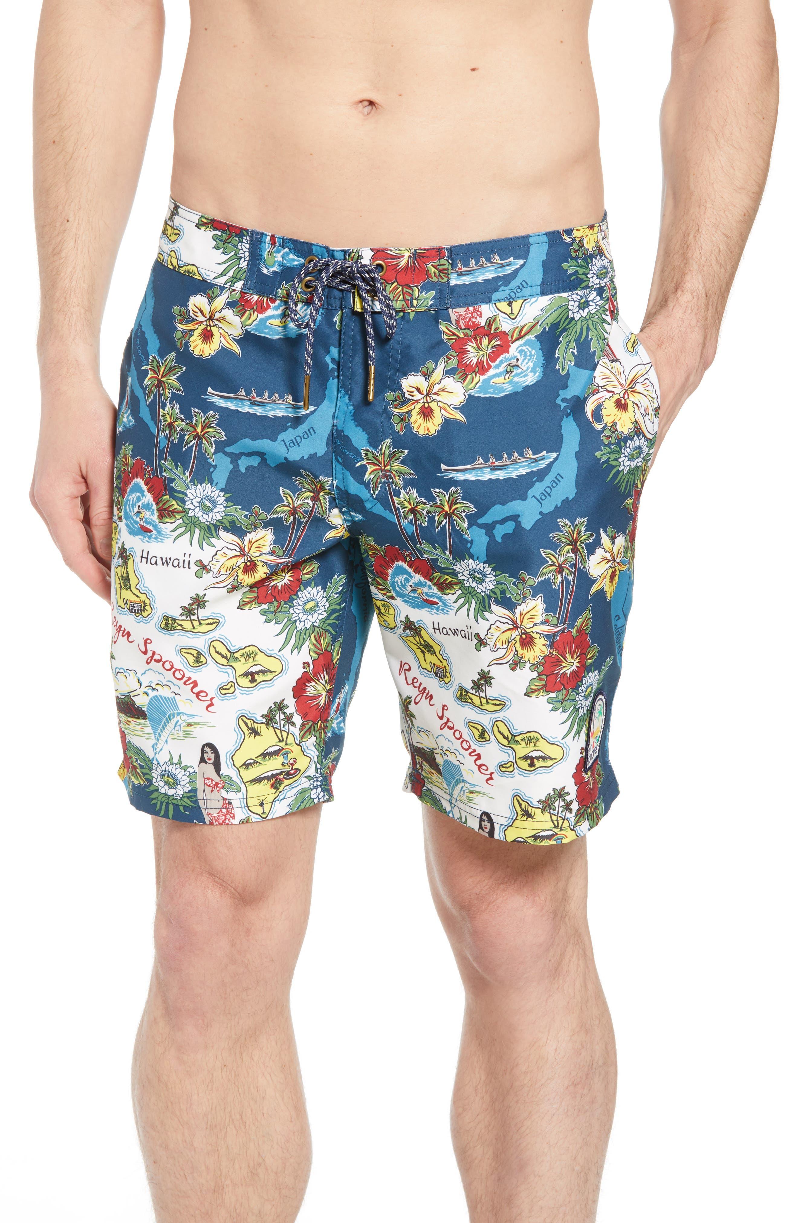 Status Oceanic Regular Fit Board Shorts,                         Main,                         color, BLUE