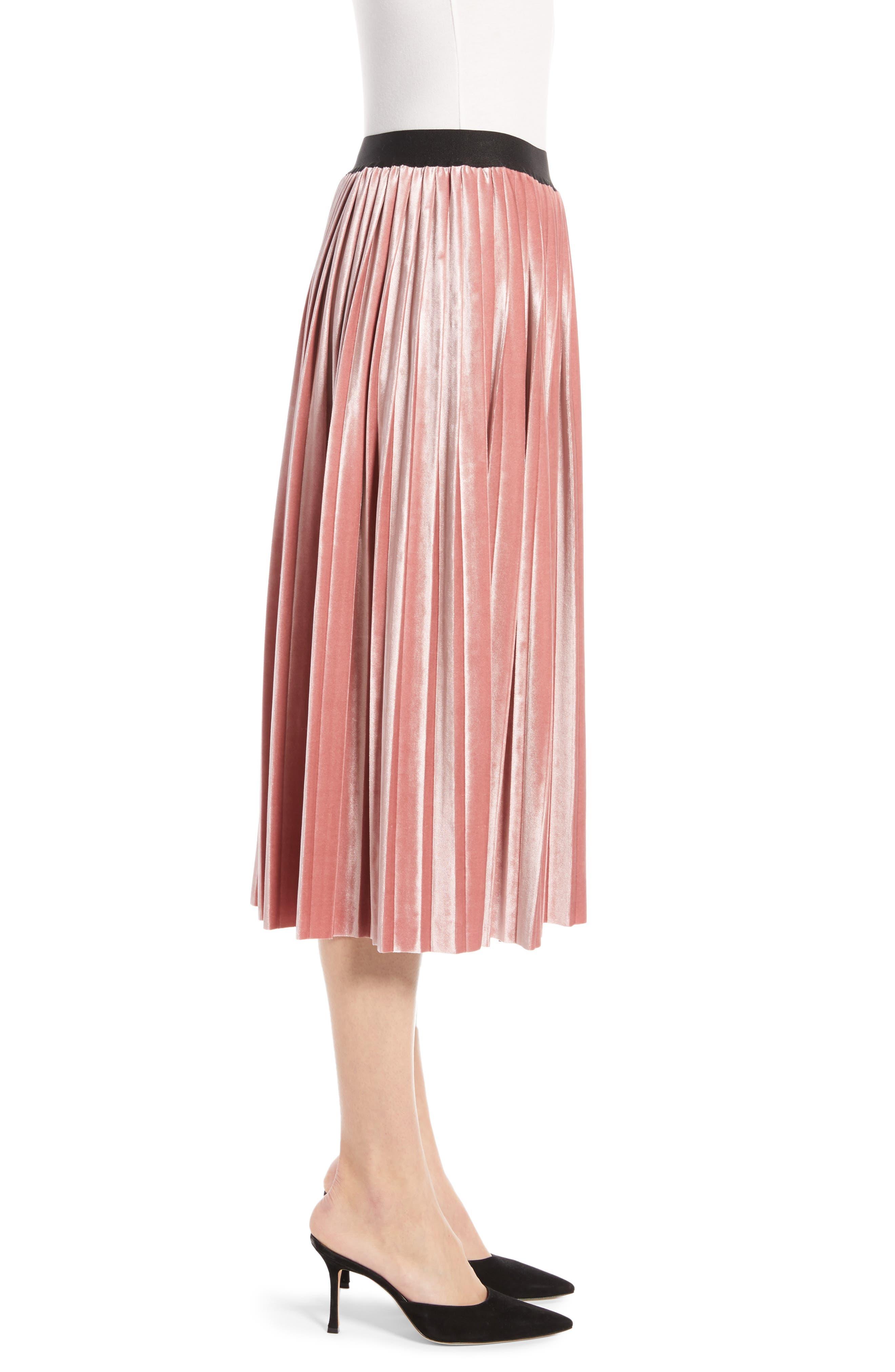 Velvet Pleated Midi Skirt,                             Alternate thumbnail 3, color,                             PINK MESA