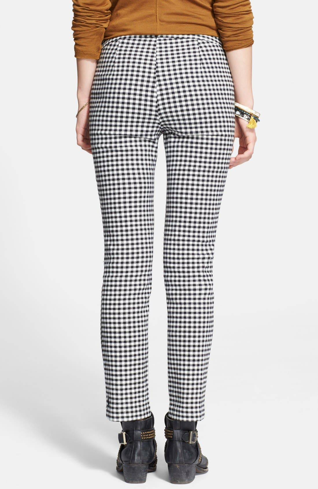 High Rise Gingham Crop Pants,                             Alternate thumbnail 3, color,                             001