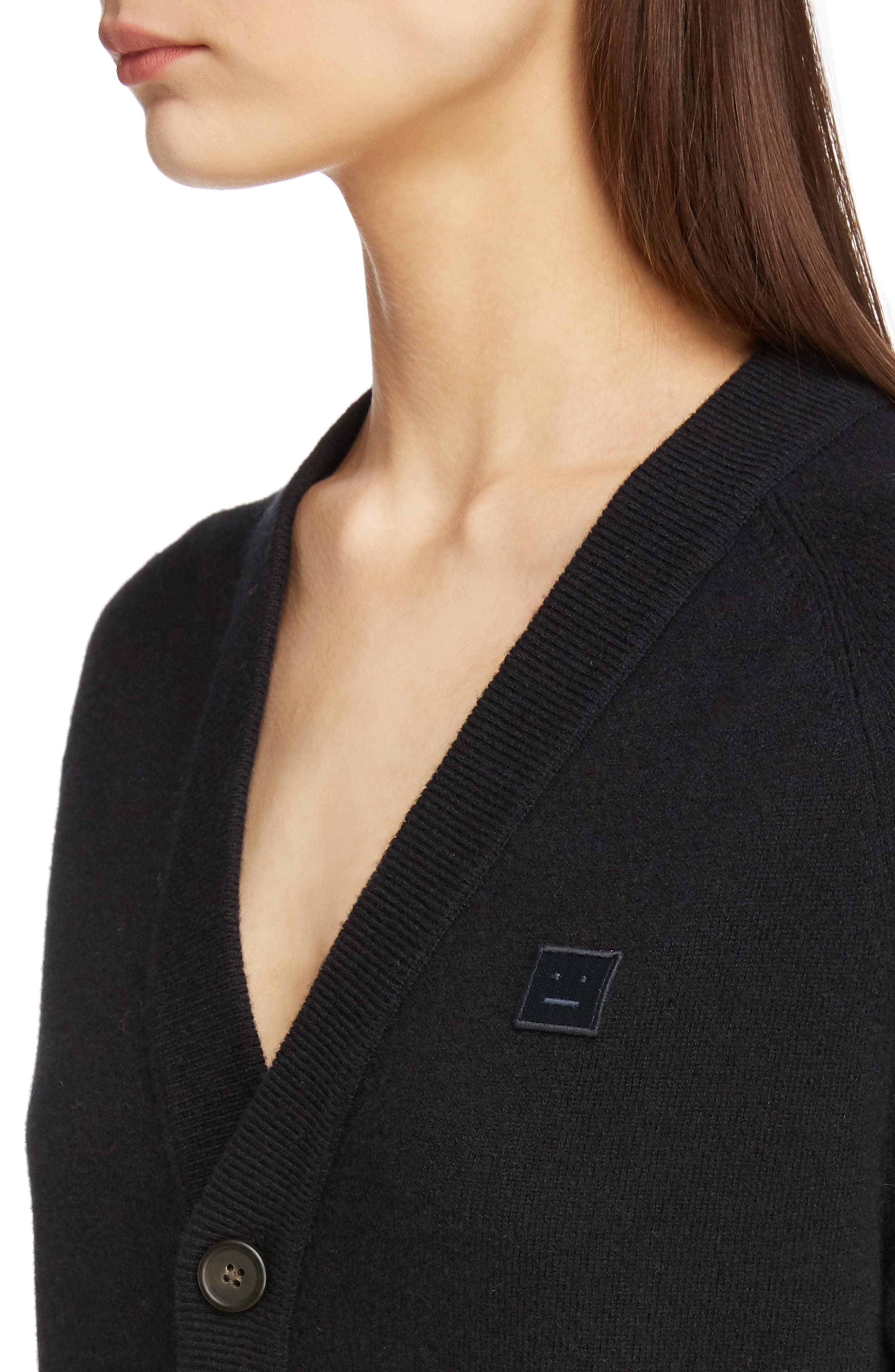 Neve Wool Cardigan,                             Alternate thumbnail 4, color,                             BLACK