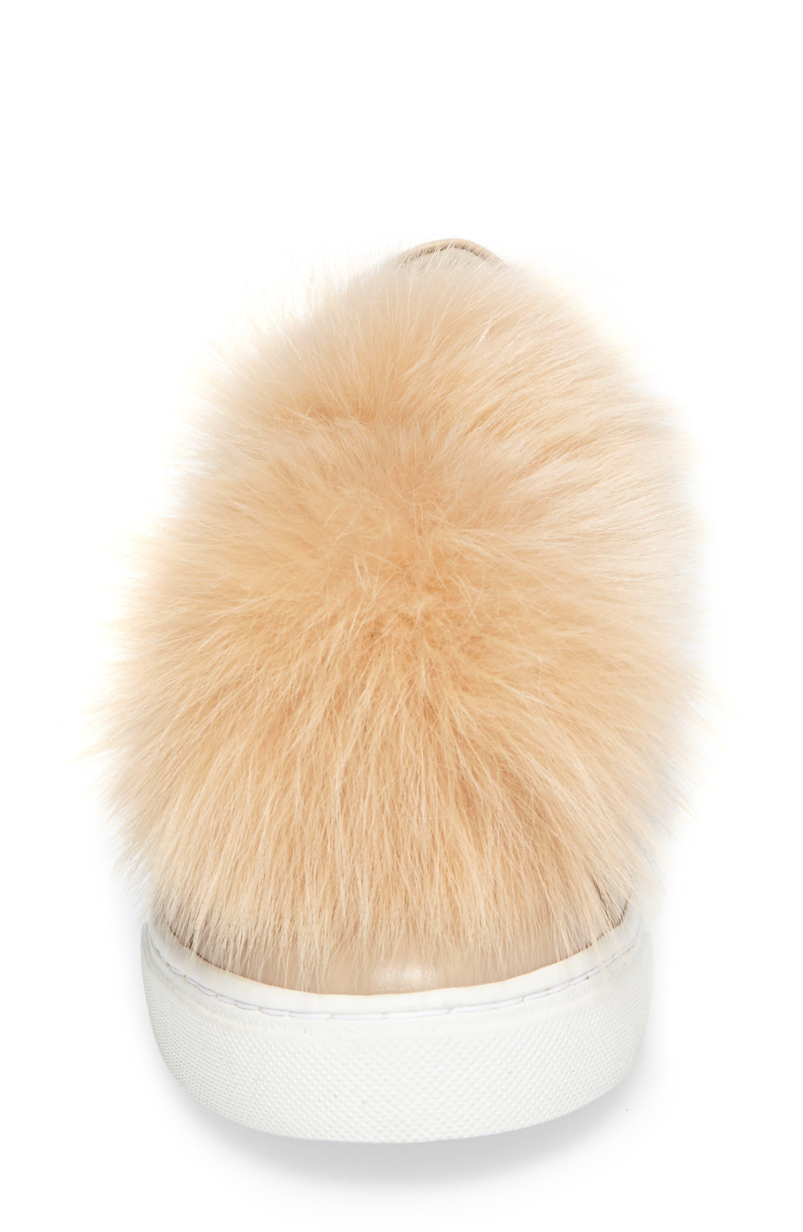 Arian Genuine Fox Fur Trim Sneaker,                             Alternate thumbnail 4, color,                             250