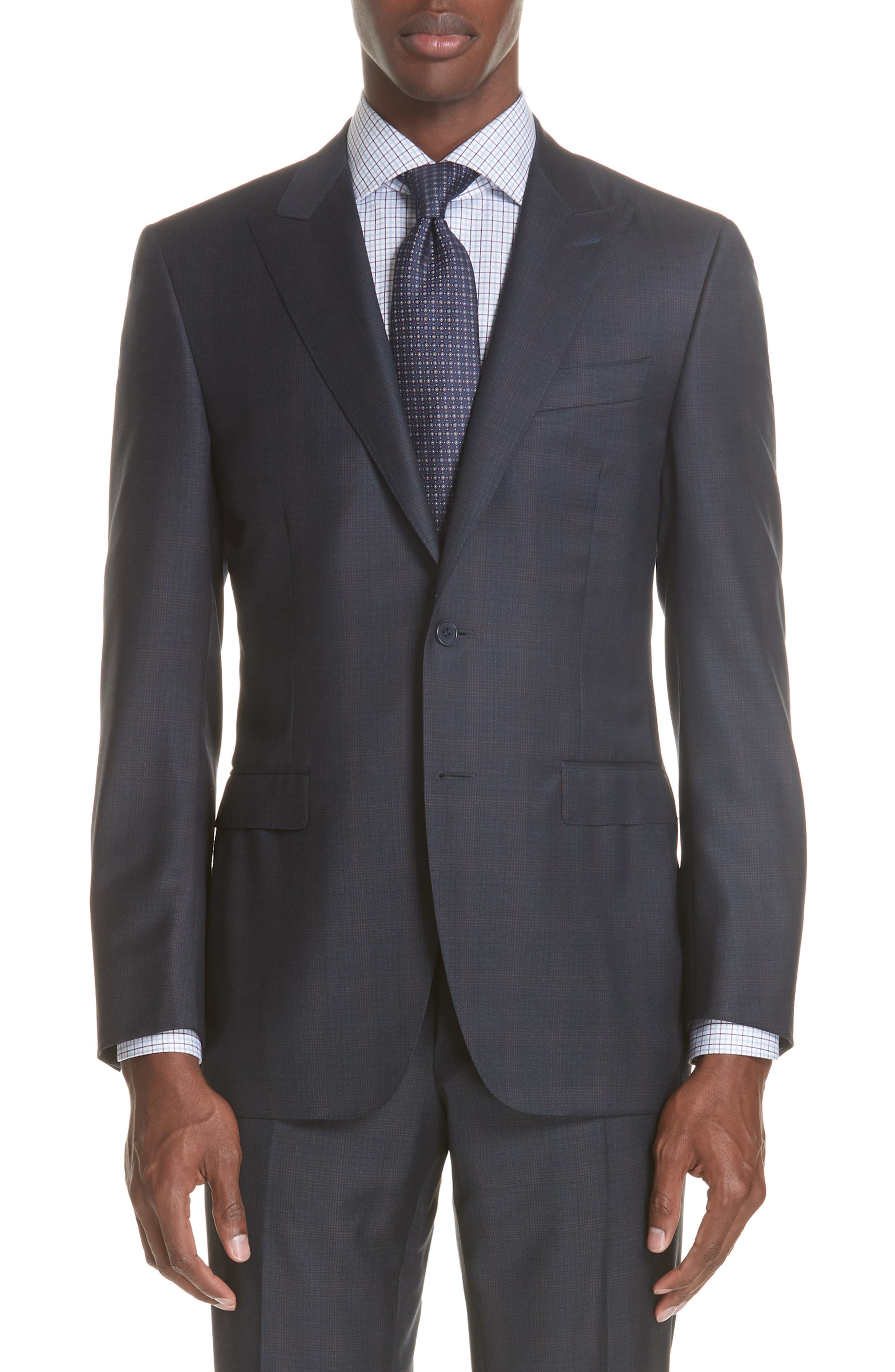 Milano Classic Fit Plaid Wool Suit,                             Alternate thumbnail 5, color,                             NAVY