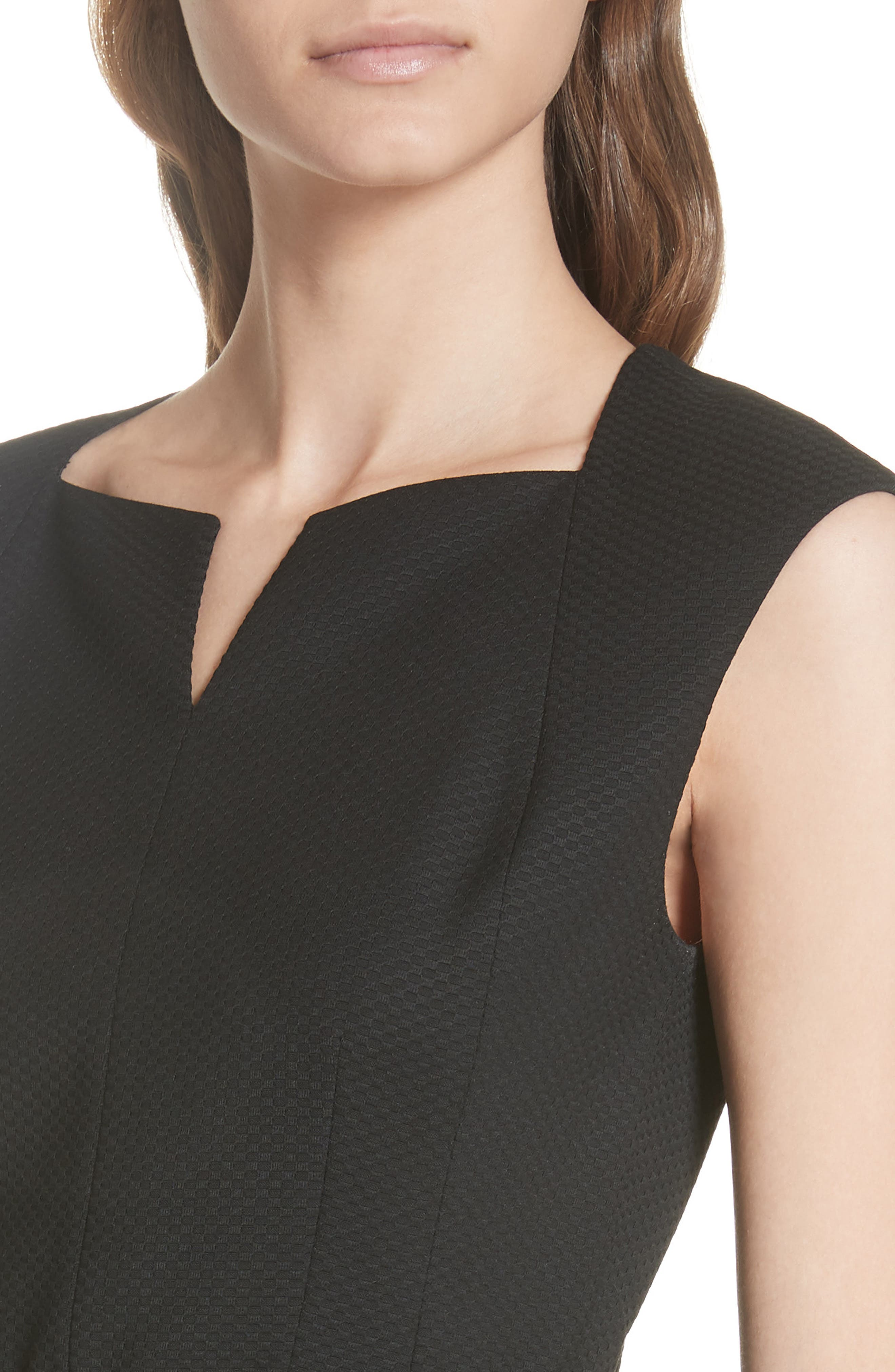 Ted Working Title Textured Peplum Dress,                             Alternate thumbnail 4, color,                             BLACK