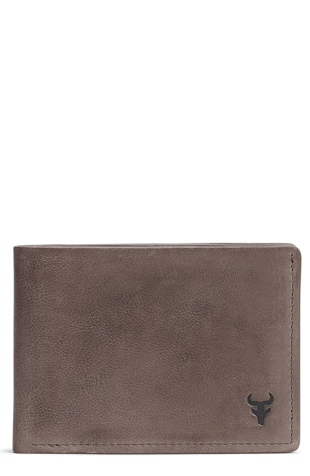 Canyon Super Slim Leather Wallet,                             Main thumbnail 1, color,                             GREY