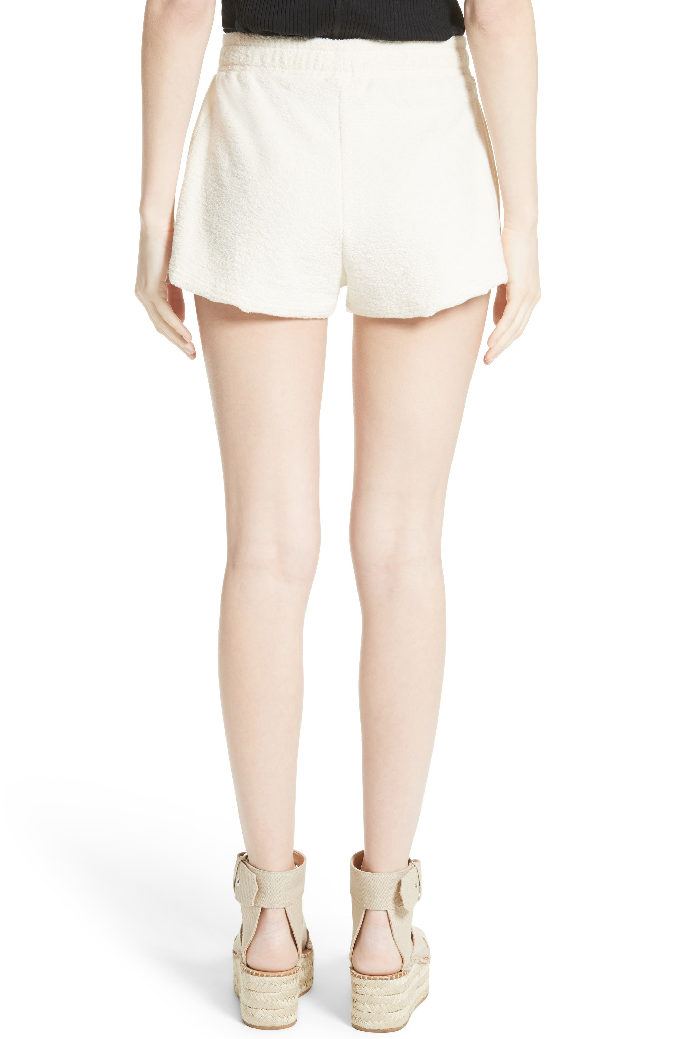Max Silk Trim Cotton Terry Shorts,                             Alternate thumbnail 2, color,