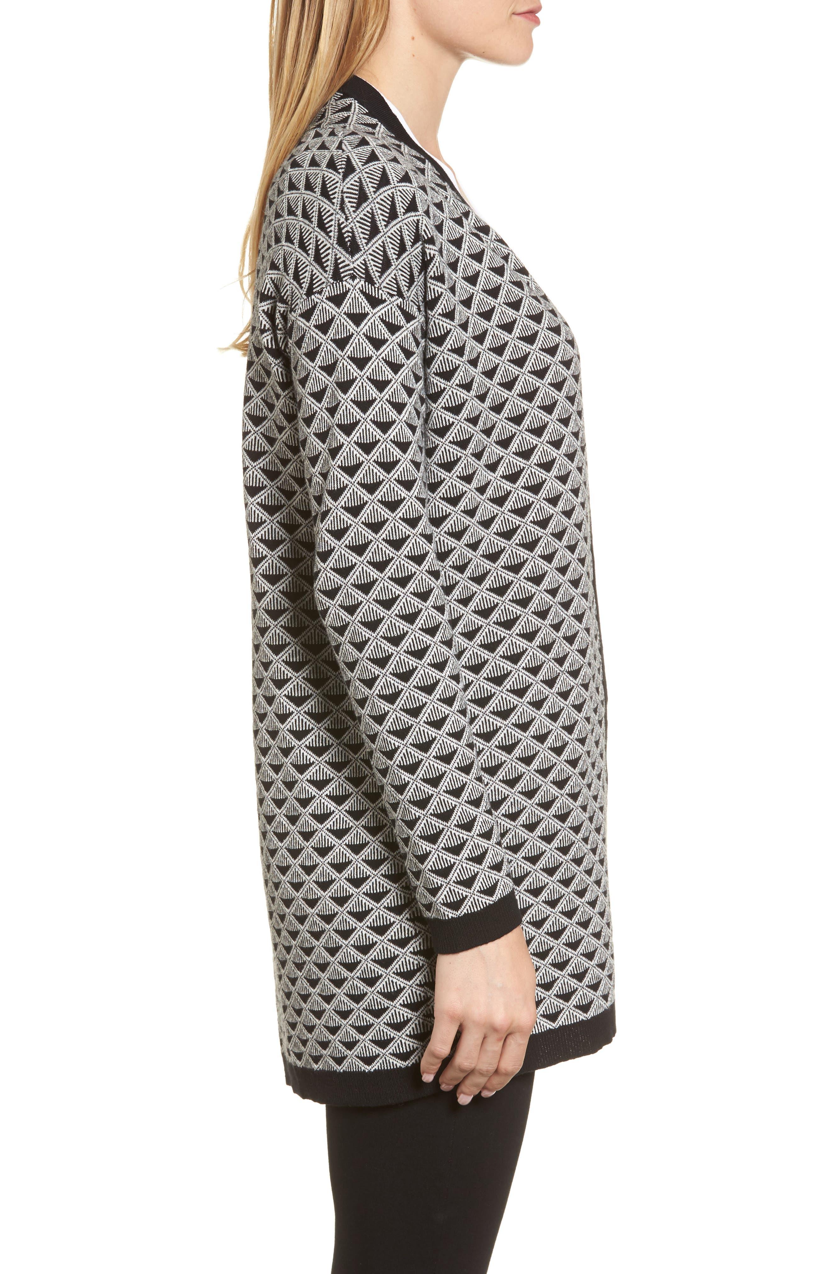 Geometric Jacquard Sweater,                             Alternate thumbnail 3, color,                             010