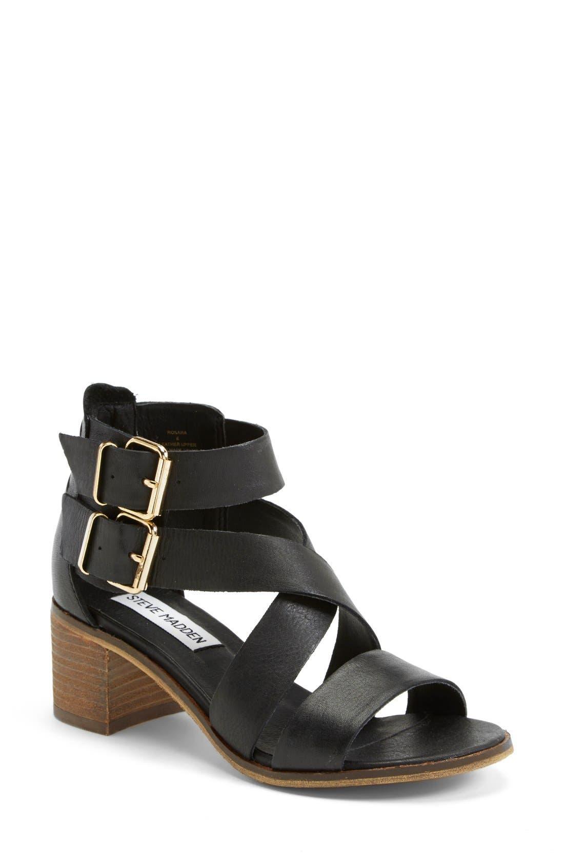 'Rosana' Double Ankle Strap Leather Sandal,                             Main thumbnail 1, color,                             001