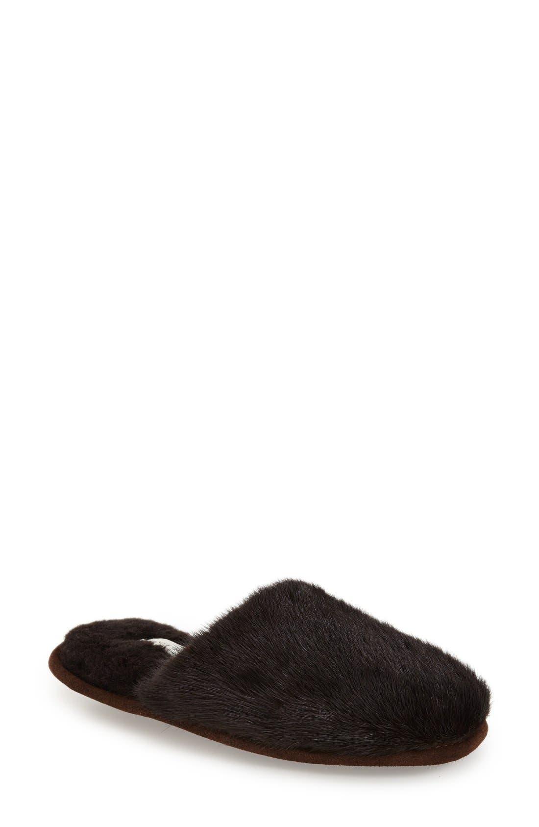 'Whistler' Genuine Mink Fur Slipper,                         Main,                         color, 215