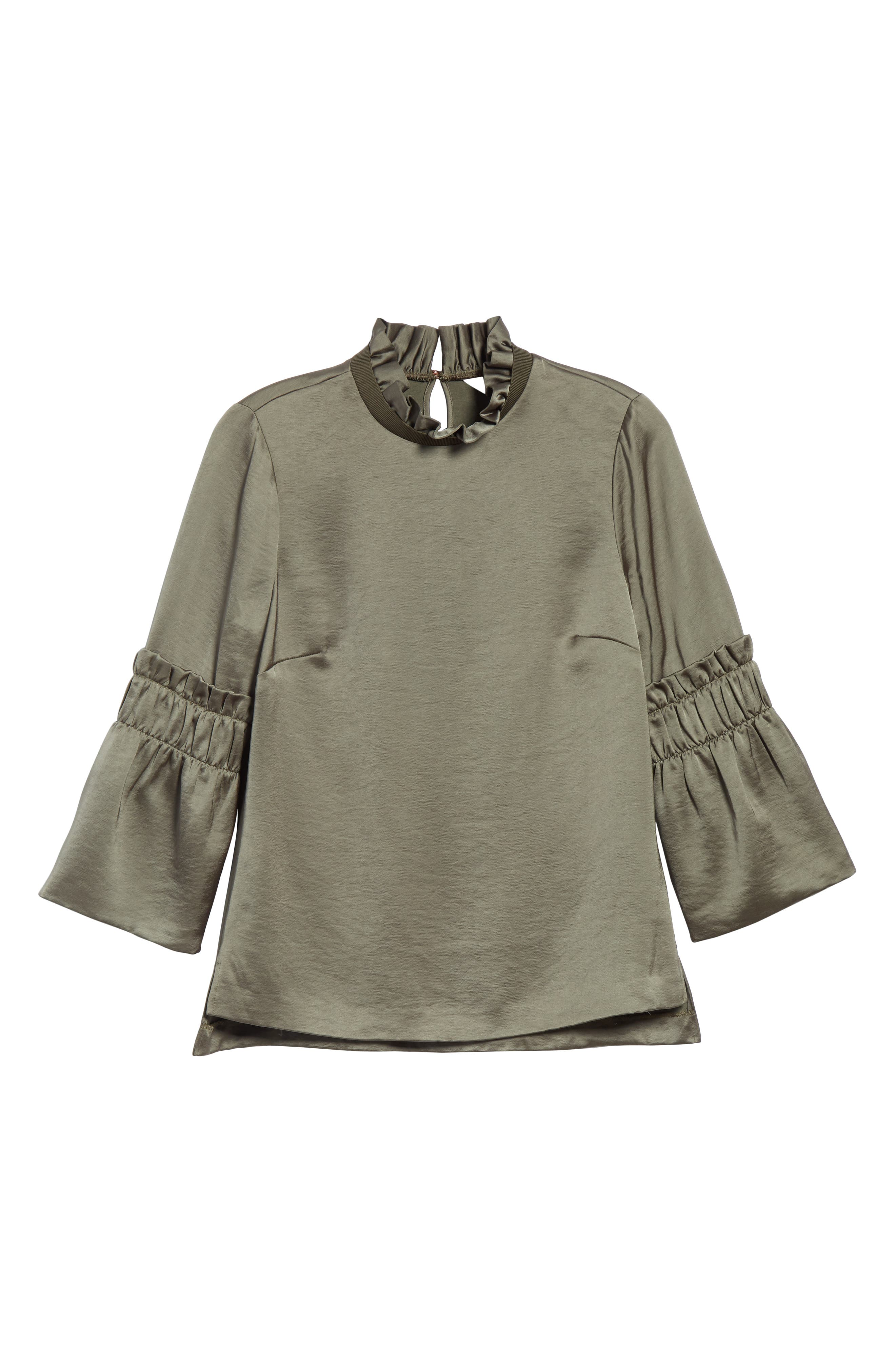 Myani Ruffle Hammered Satin Top,                             Alternate thumbnail 6, color,                             252