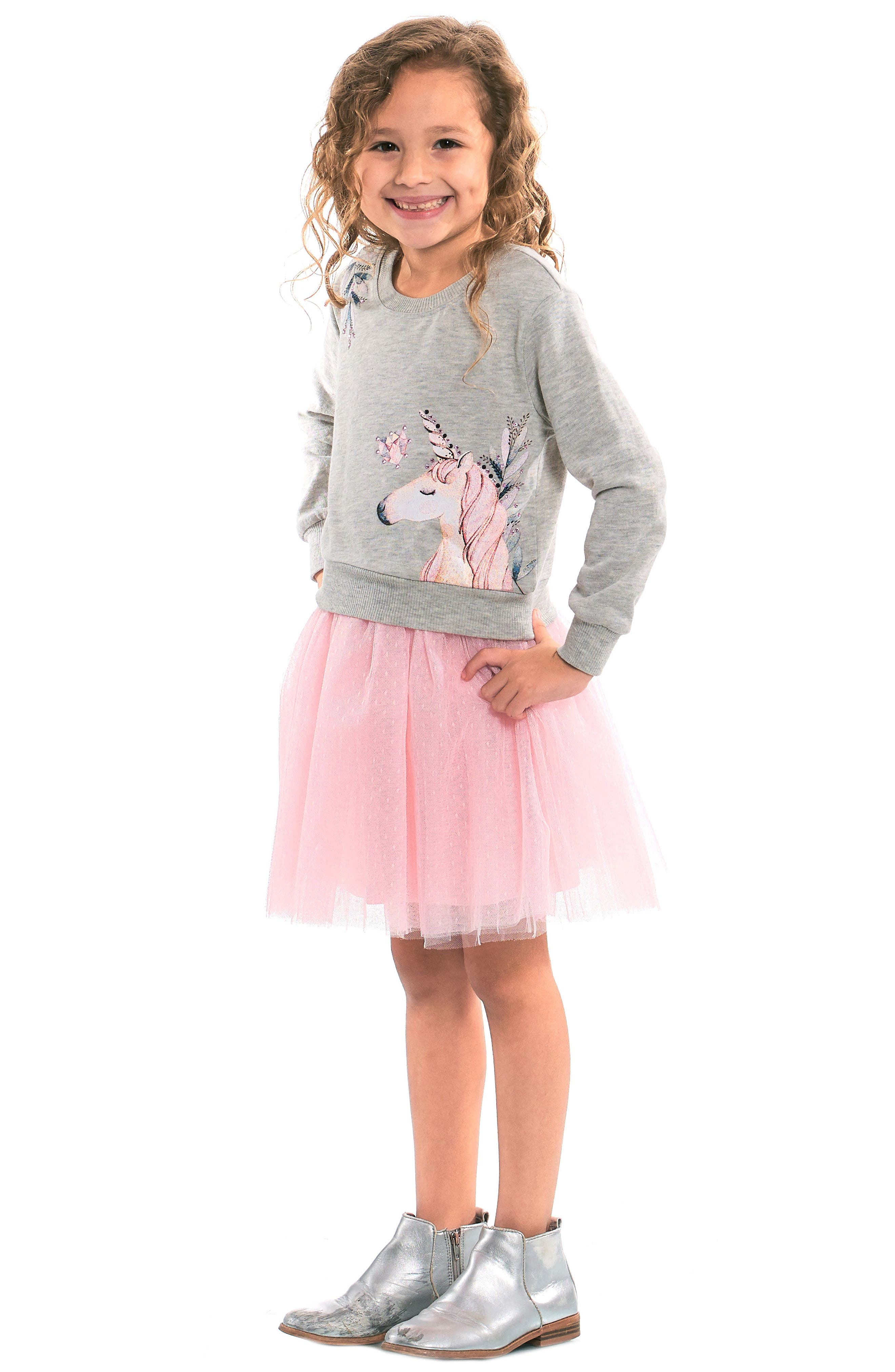 Unicorn Sweatshirt & Tutu Dress Set,                             Main thumbnail 1, color,                             GREY PINK